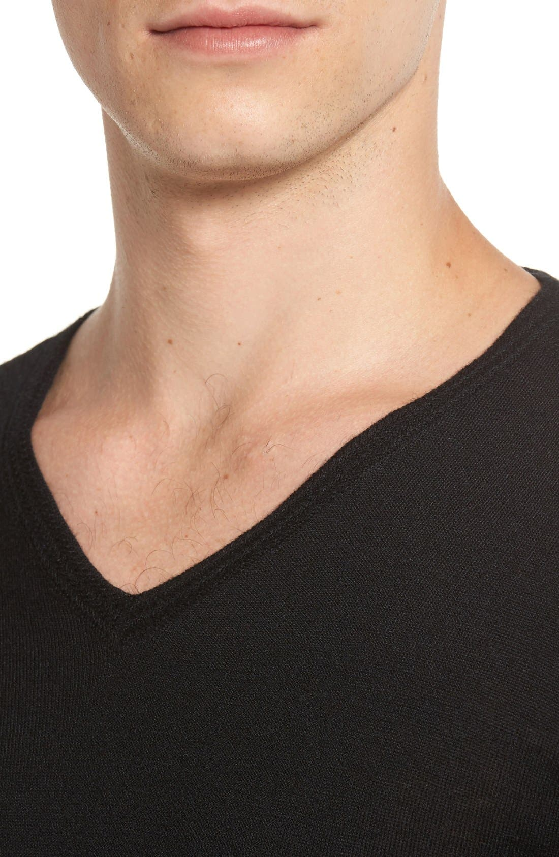 V-Neck Sweater,                             Alternate thumbnail 4, color,                             Black