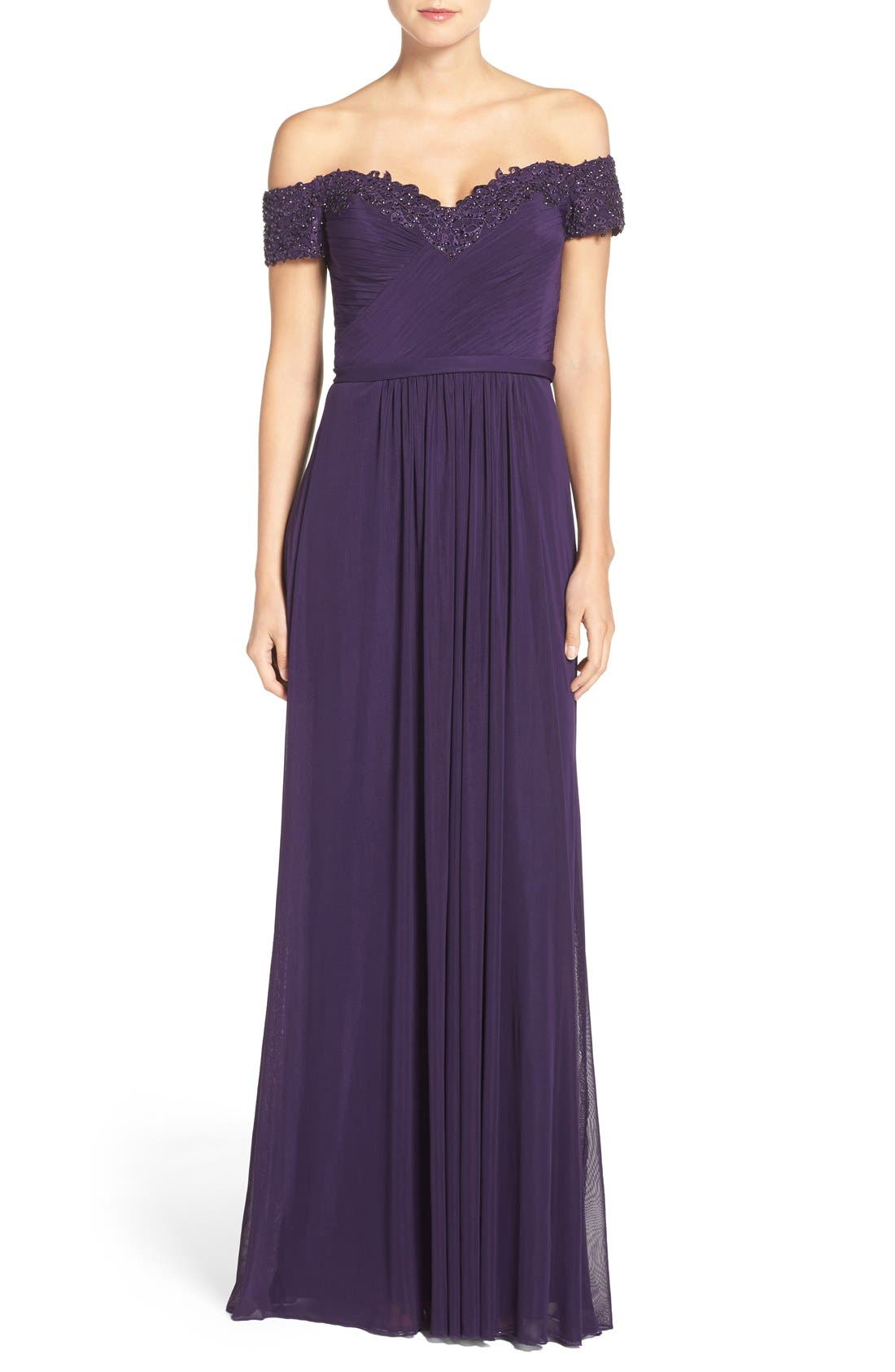 La Femme Embellished Off the Shoulder Gown
