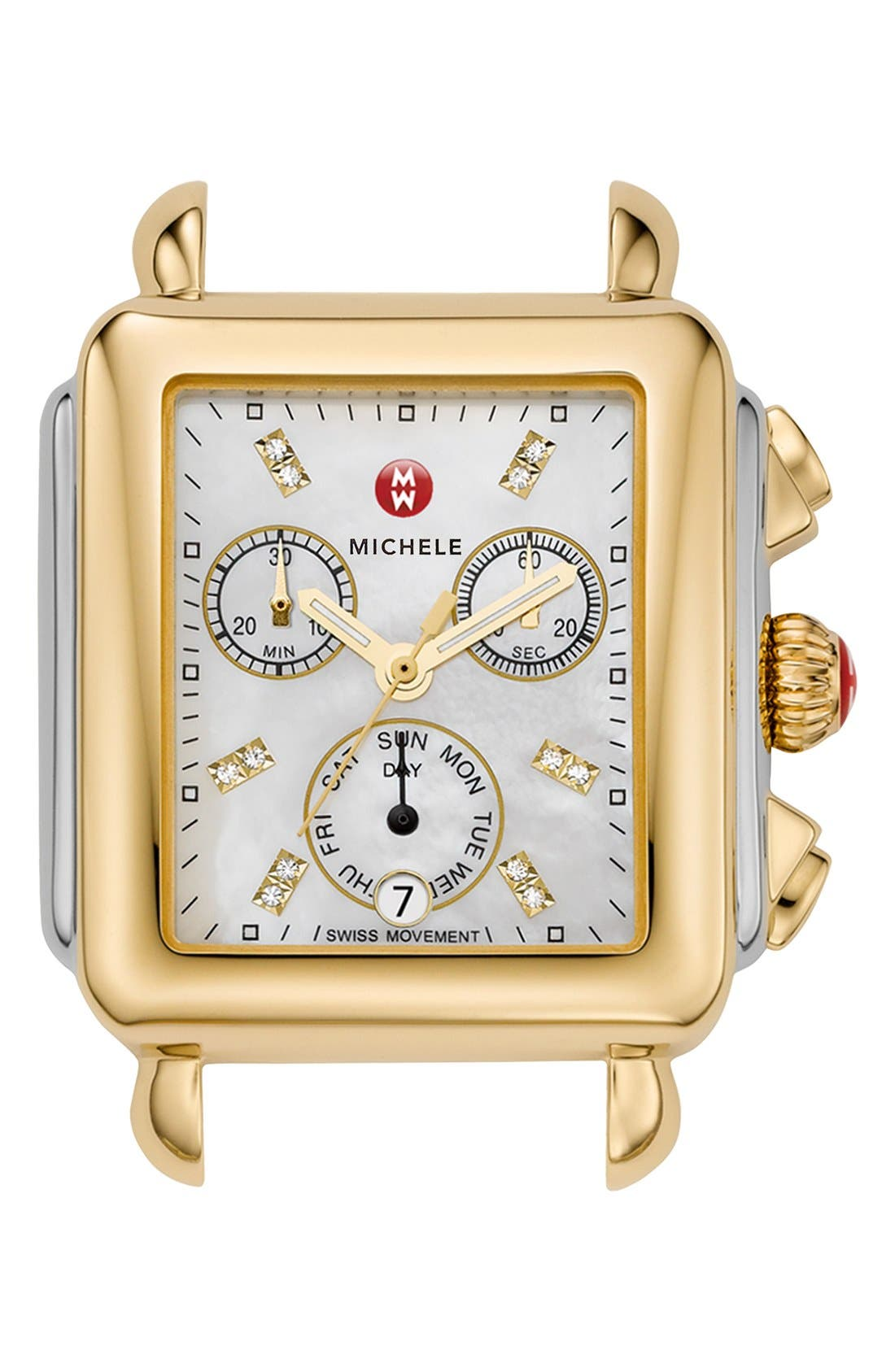 Deco Diamond Dial Two-Tone Watch Head, 33mm x 35mm,                             Main thumbnail 1, color,                             Gold/ Silver