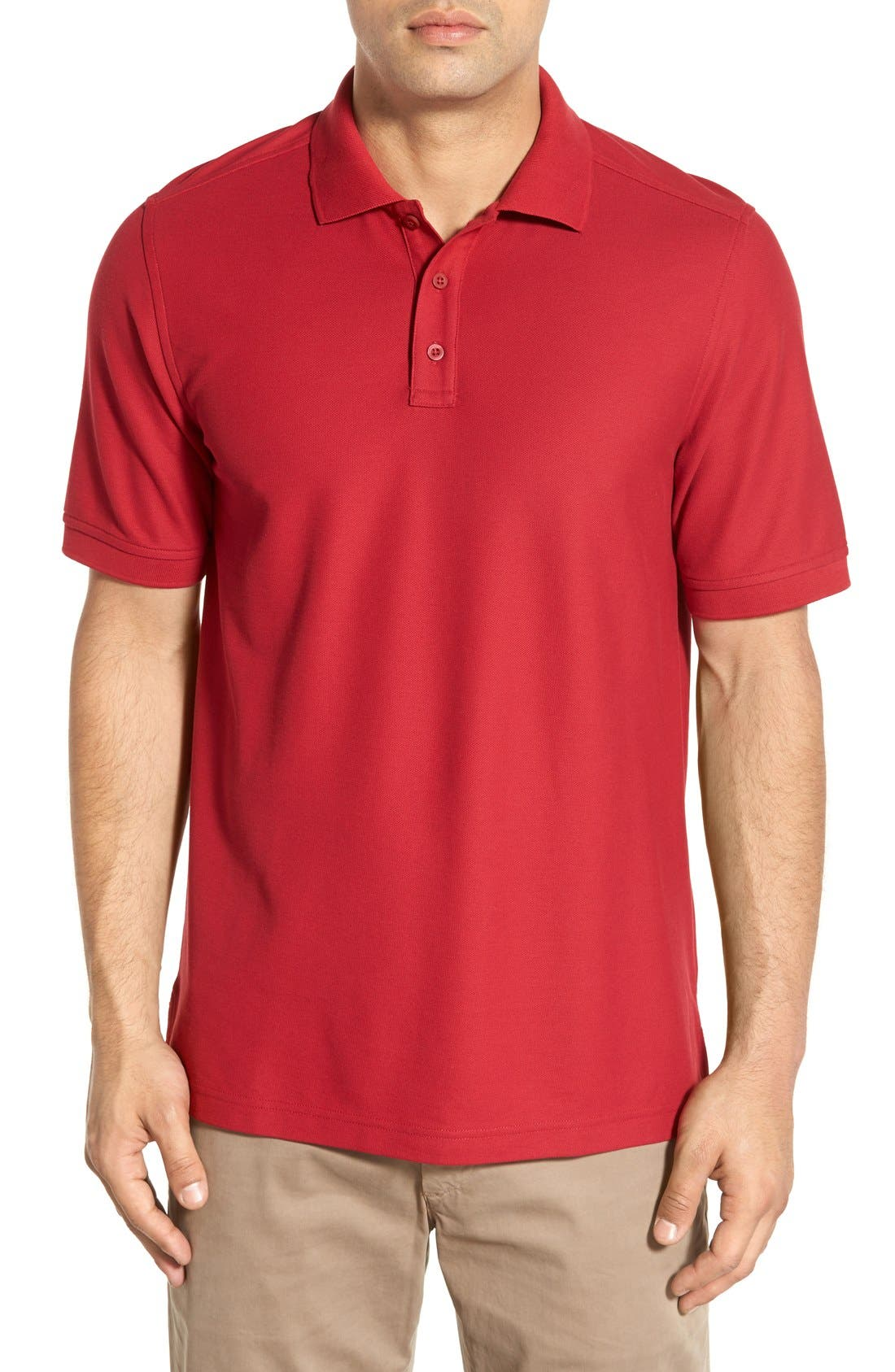 Classic Regular Fit Piqué Polo,                         Main,                         color, Red Rio