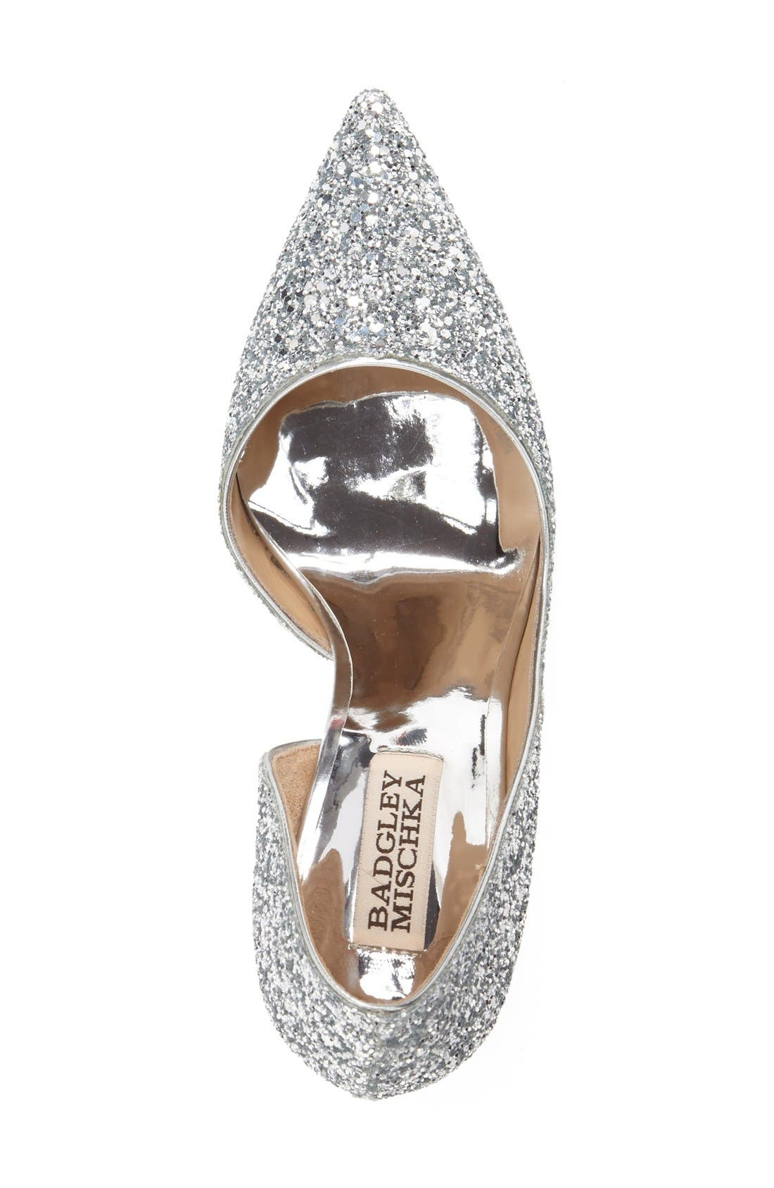 'Daisy' Embellished Pointy Toe Pump,                             Alternate thumbnail 3, color,                             Silver Glitter Fabric