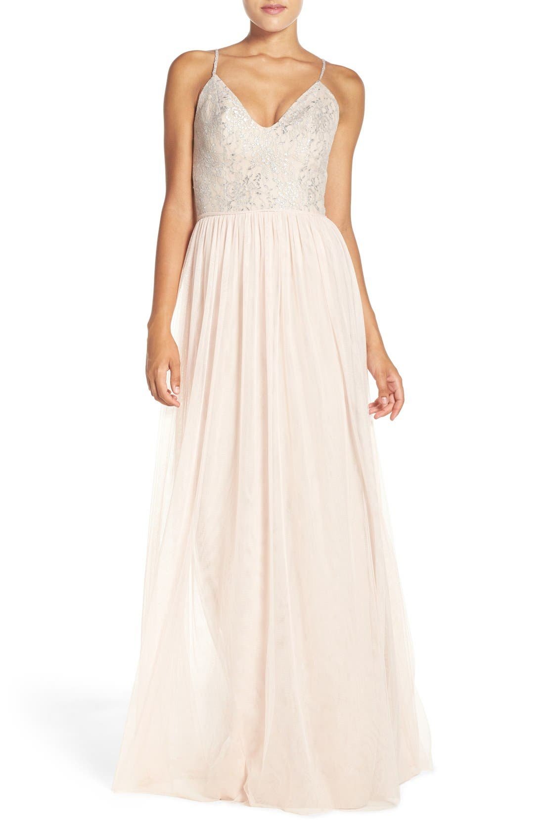 Main Image - Hayley Paige Occasions Metallic Lace & Tulle Spaghetti Strap Gown