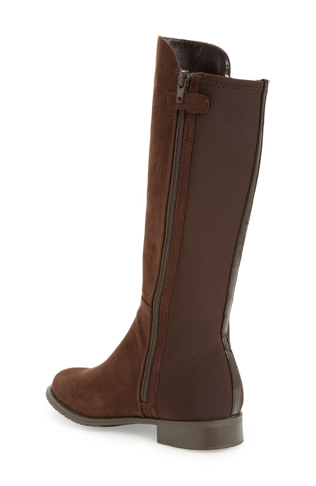 '50/50' Stretch Back Riding Boot,                             Alternate thumbnail 2, color,                             Brown Leather