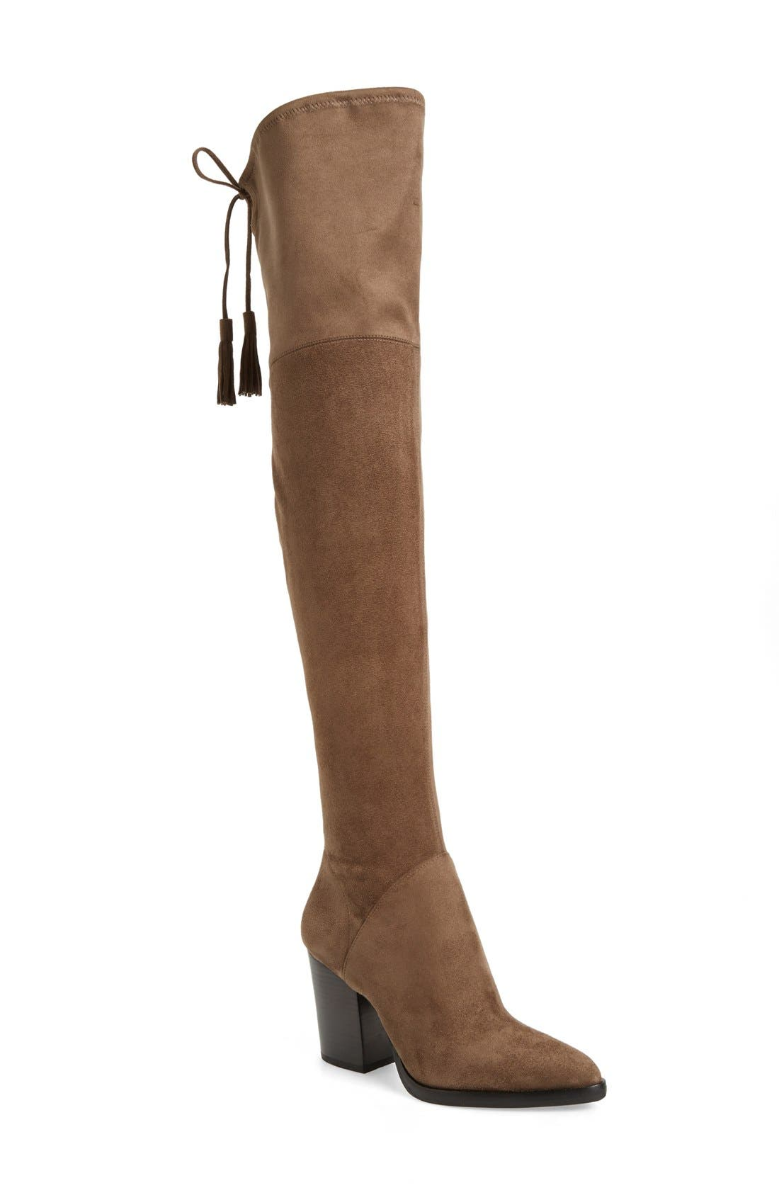 'Alinda' Over the Knee Boot,                             Main thumbnail 1, color,                             Tan Stretch Fabric