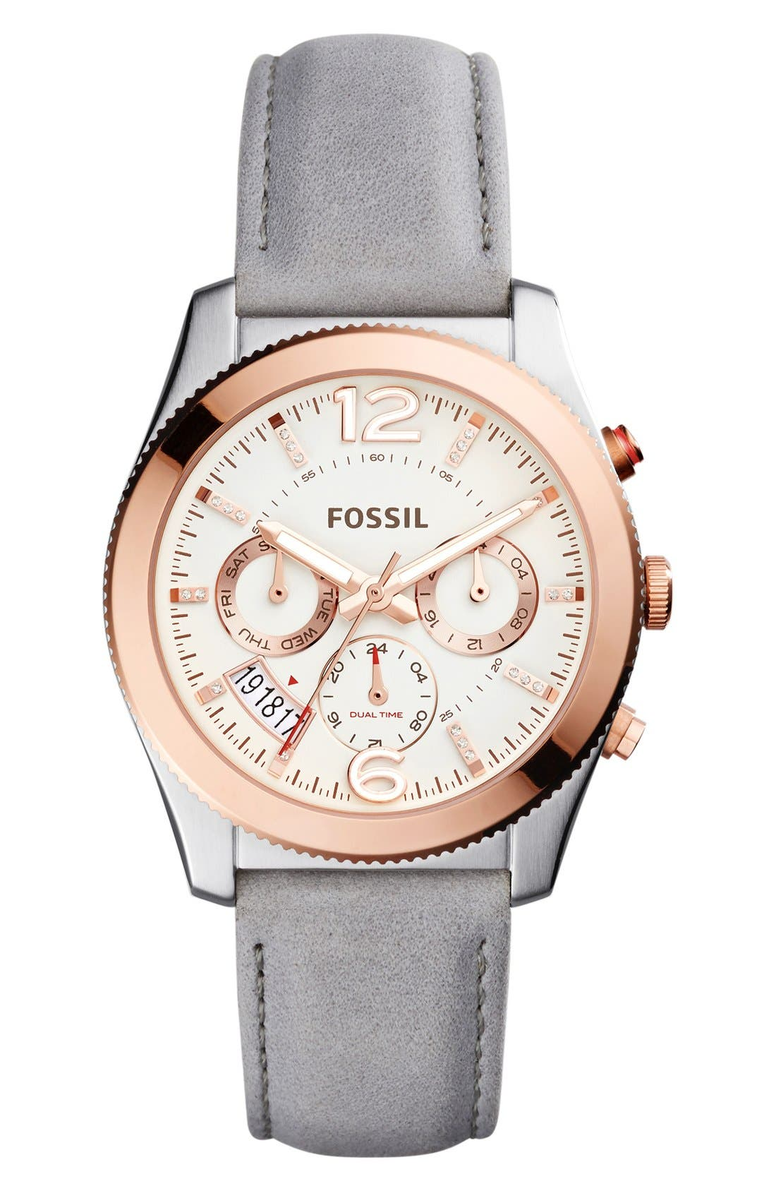 Main Image - Fossil 'Perfect Boyfriend' Multifunction Leather Strap Watch, 39mm