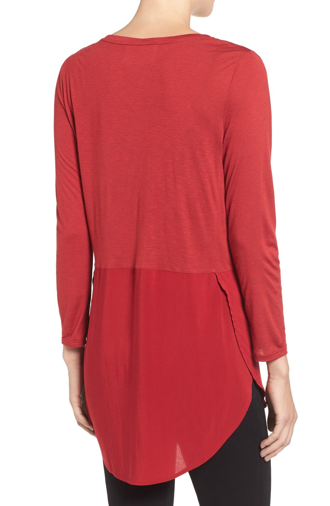 Alternate Image 2  - Two by Vince Camuto Mixed Media V-Neck Tunic