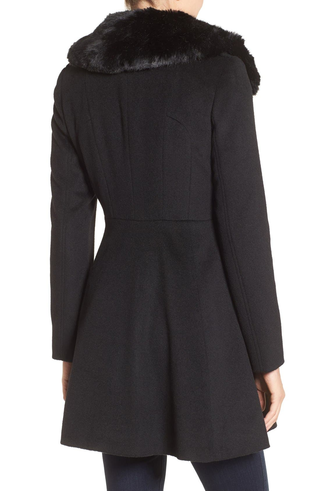 Double Breasted Coat with Faux Fur Collar,                             Alternate thumbnail 2, color,                             Black