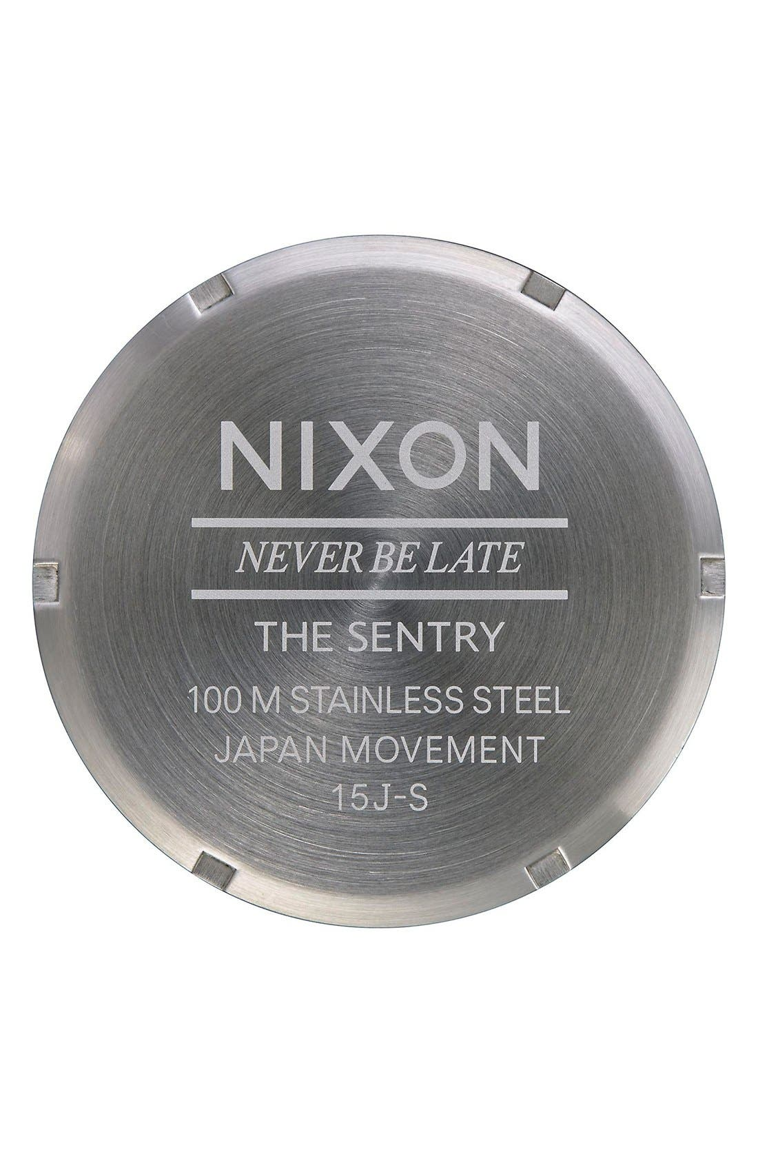 Alternate Image 4  - Nixon 'The Sentry' Leather Strap Watch, 42mm