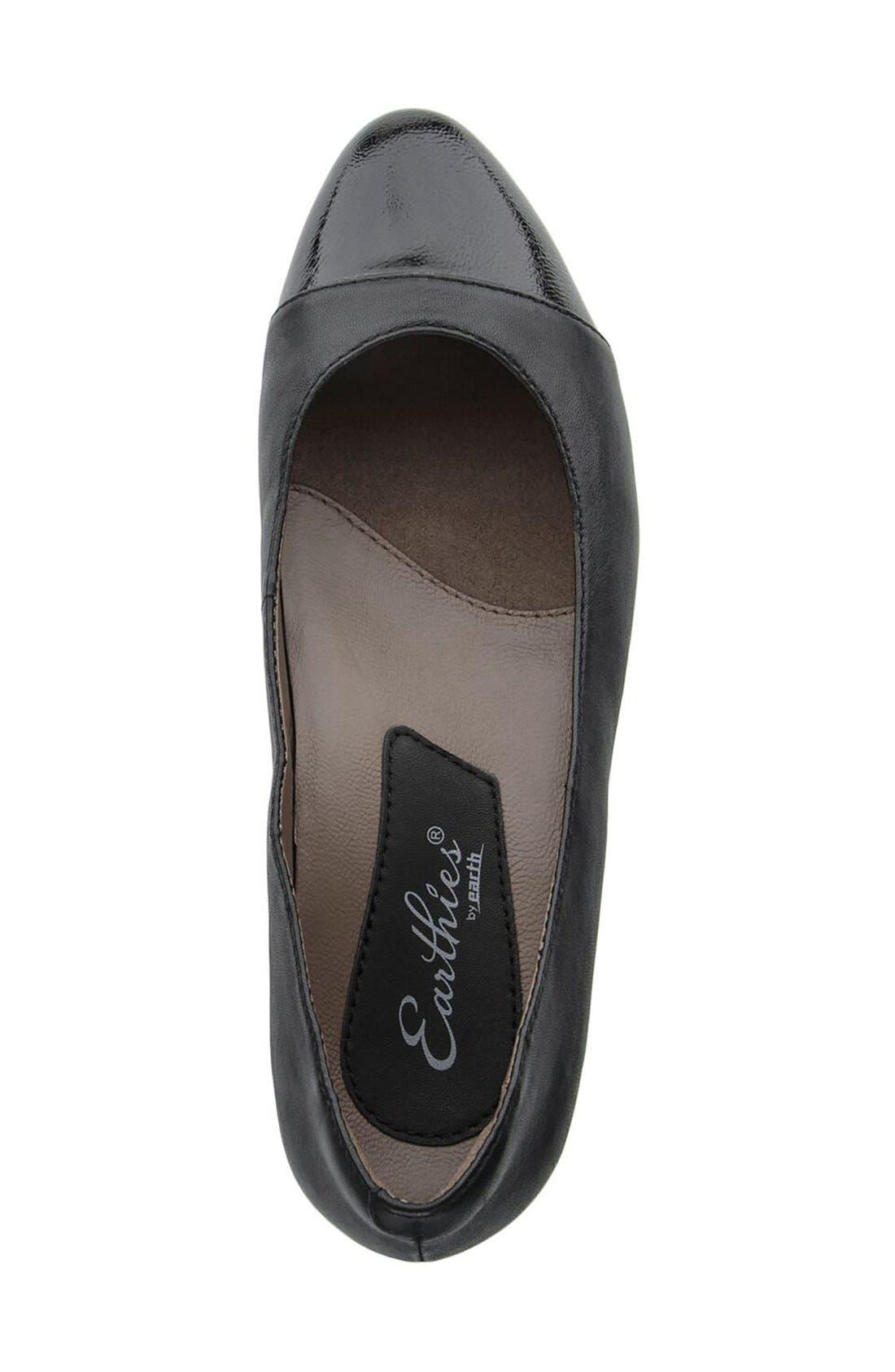 'Hanover' Cap Toe Flat,                             Alternate thumbnail 3, color,                             Black Leather
