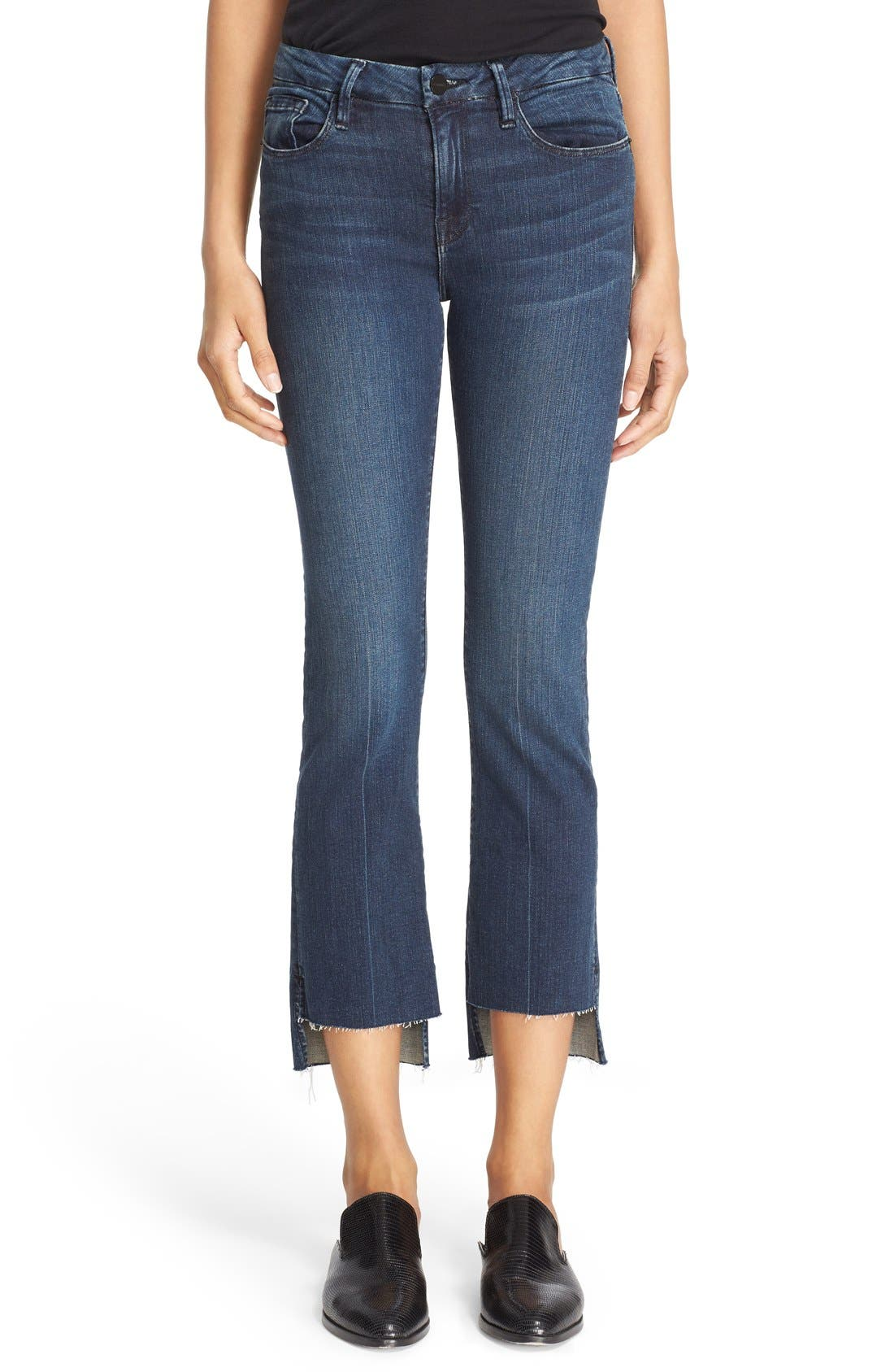 'Le Crop Mini Boot' Staggered Hem Crop Jeans,                             Main thumbnail 1, color,                             Topsail