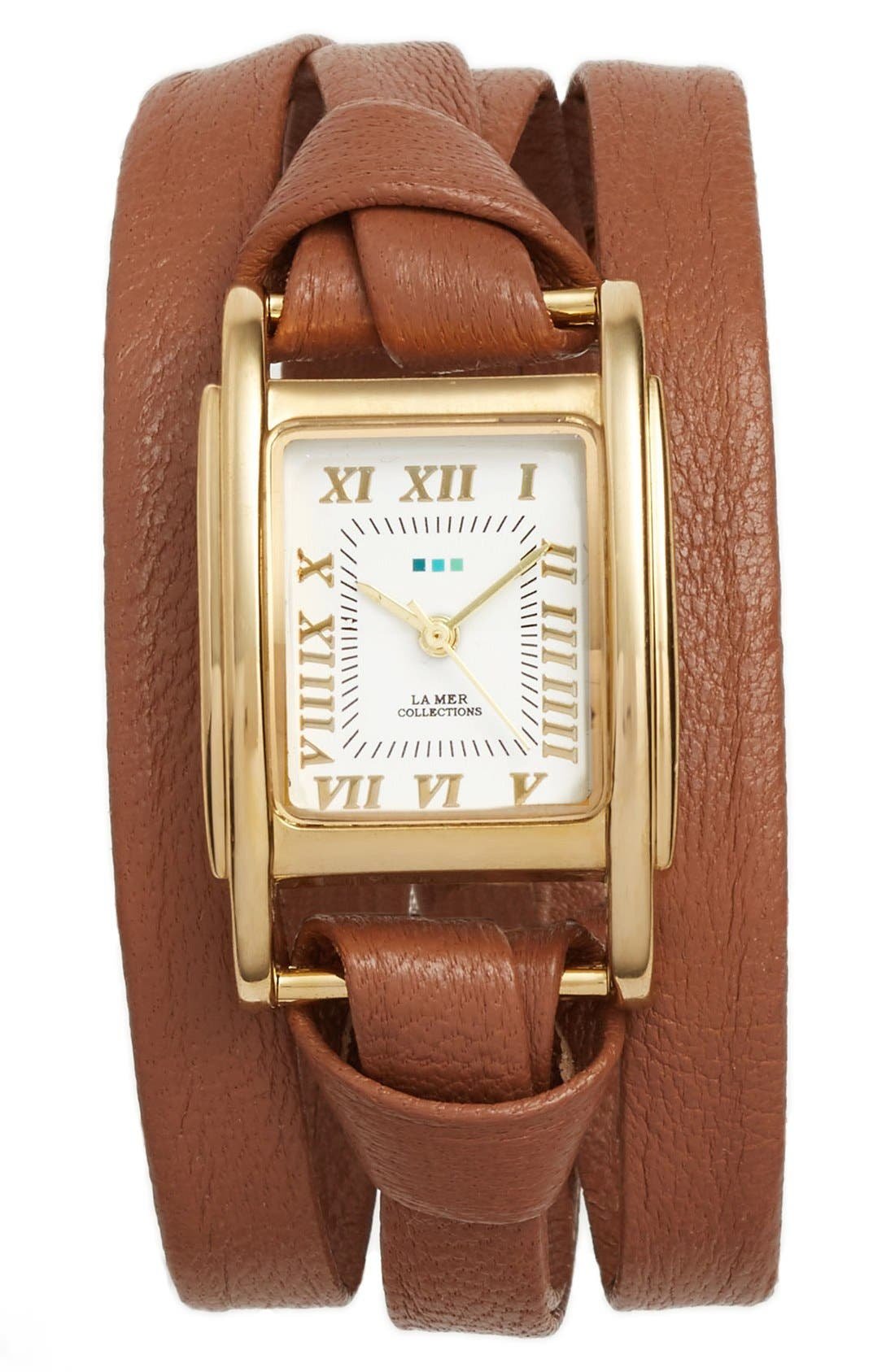 'Milwood' Leather Wrap Watch, 35mm,                             Main thumbnail 1, color,                             Brown/ Gold