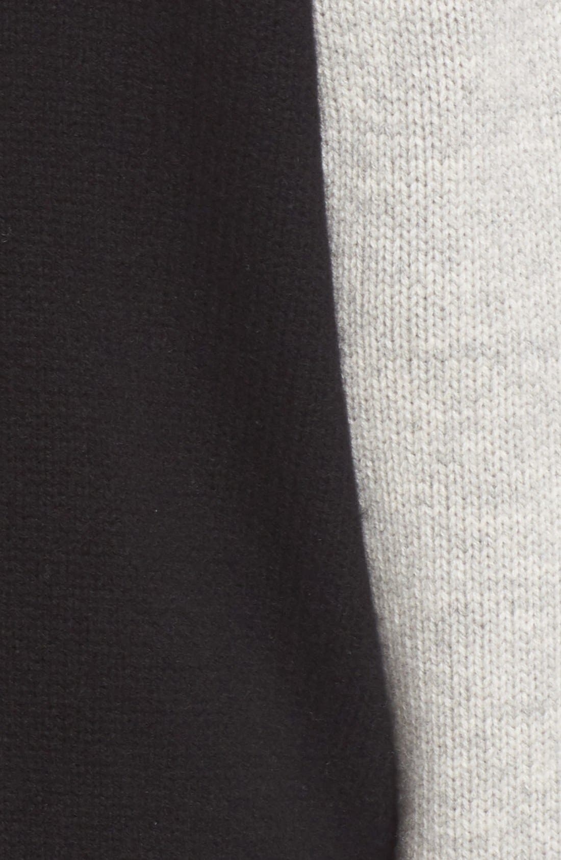 Stripe Detail Wool & Cashmere Knit Varsity Jacket,                             Alternate thumbnail 3, color,                             Black