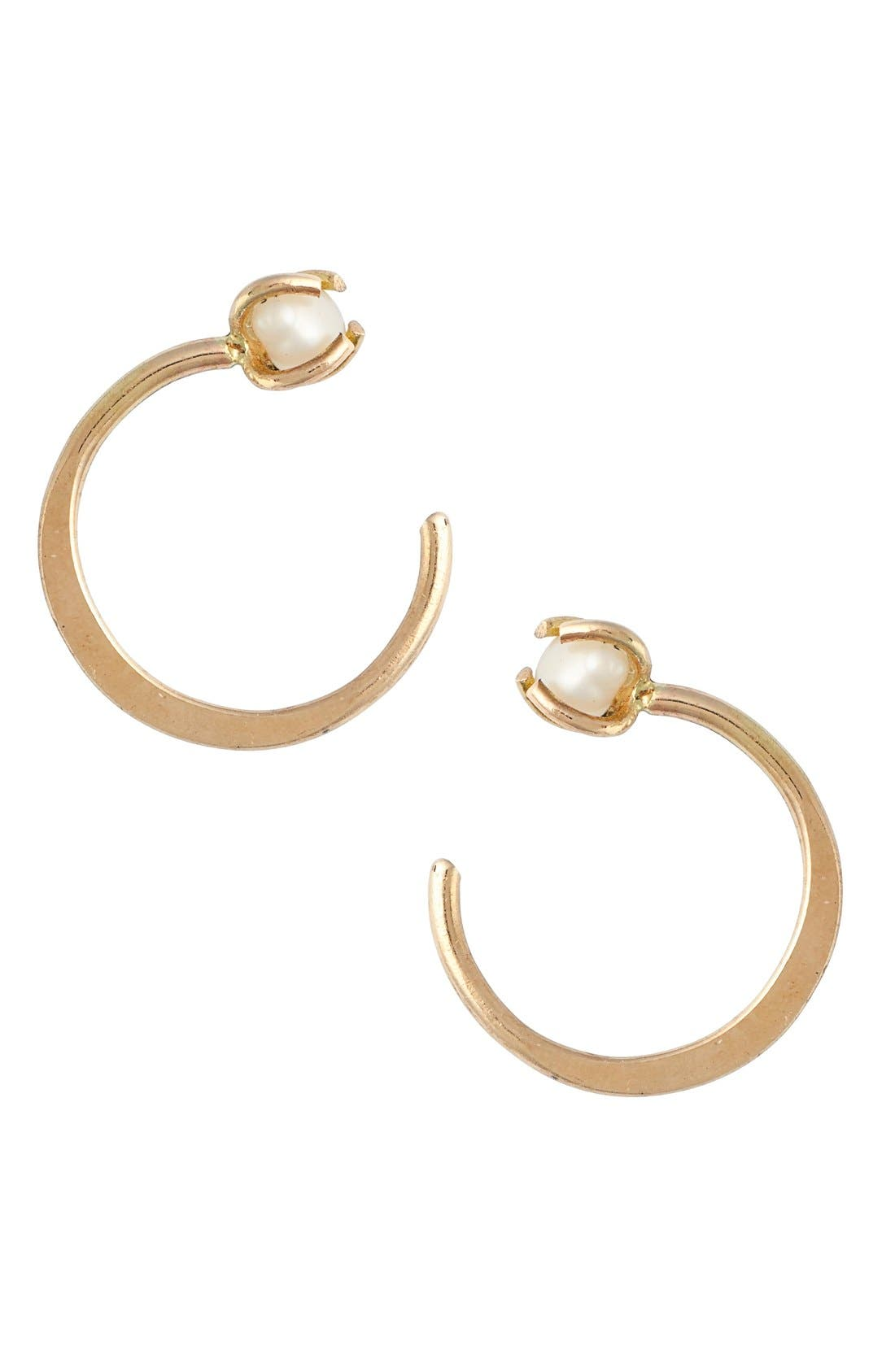 MELISSA JOY MANNING Threader Hoop Pearl Earrings