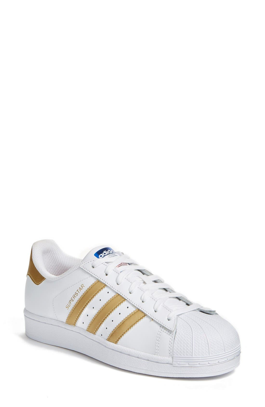Main Image - adidas Superstar Sneaker. Color: White/ Gold