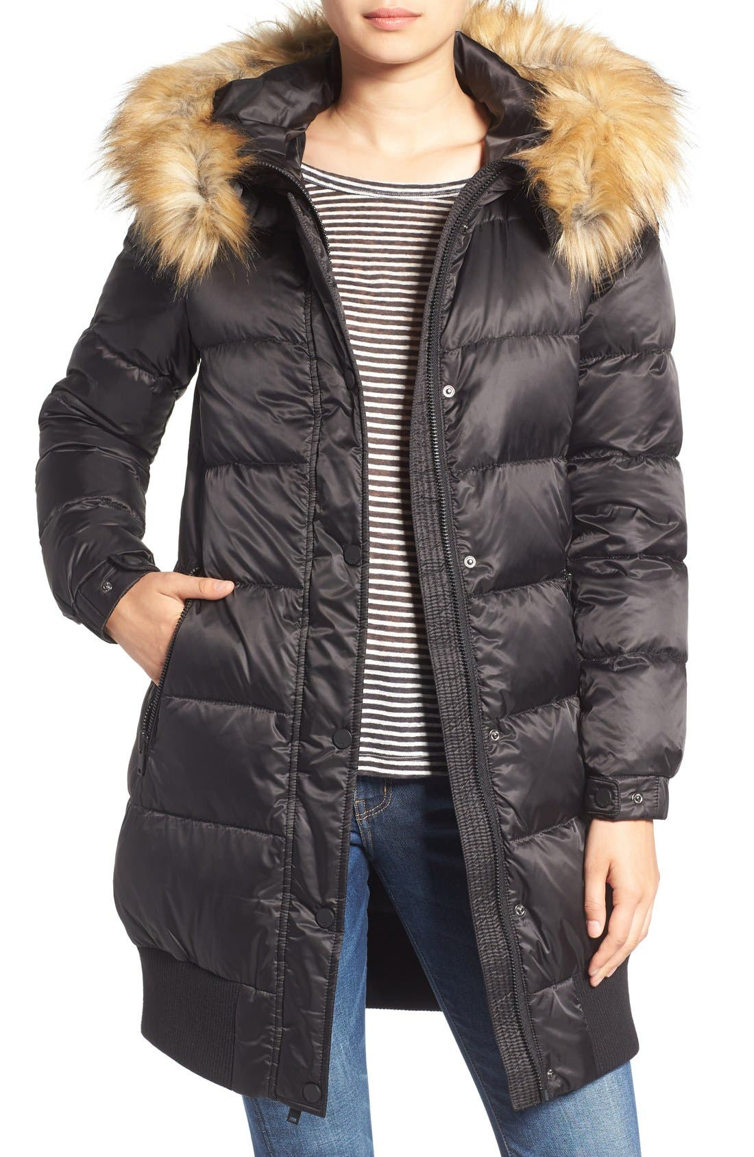 Alternate Image 1 Selected - 7 For All Mankind Quilted Coat with Removable Faux Fur Trim Hood