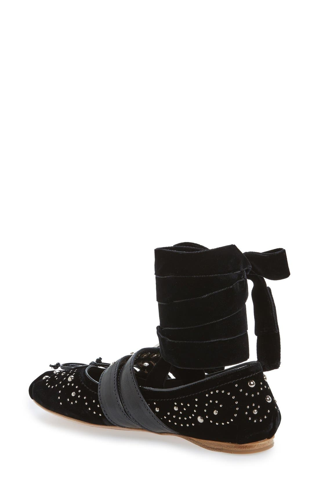 Alternate Image 2  - Miu Miu Studded Ballet Flat (Women)
