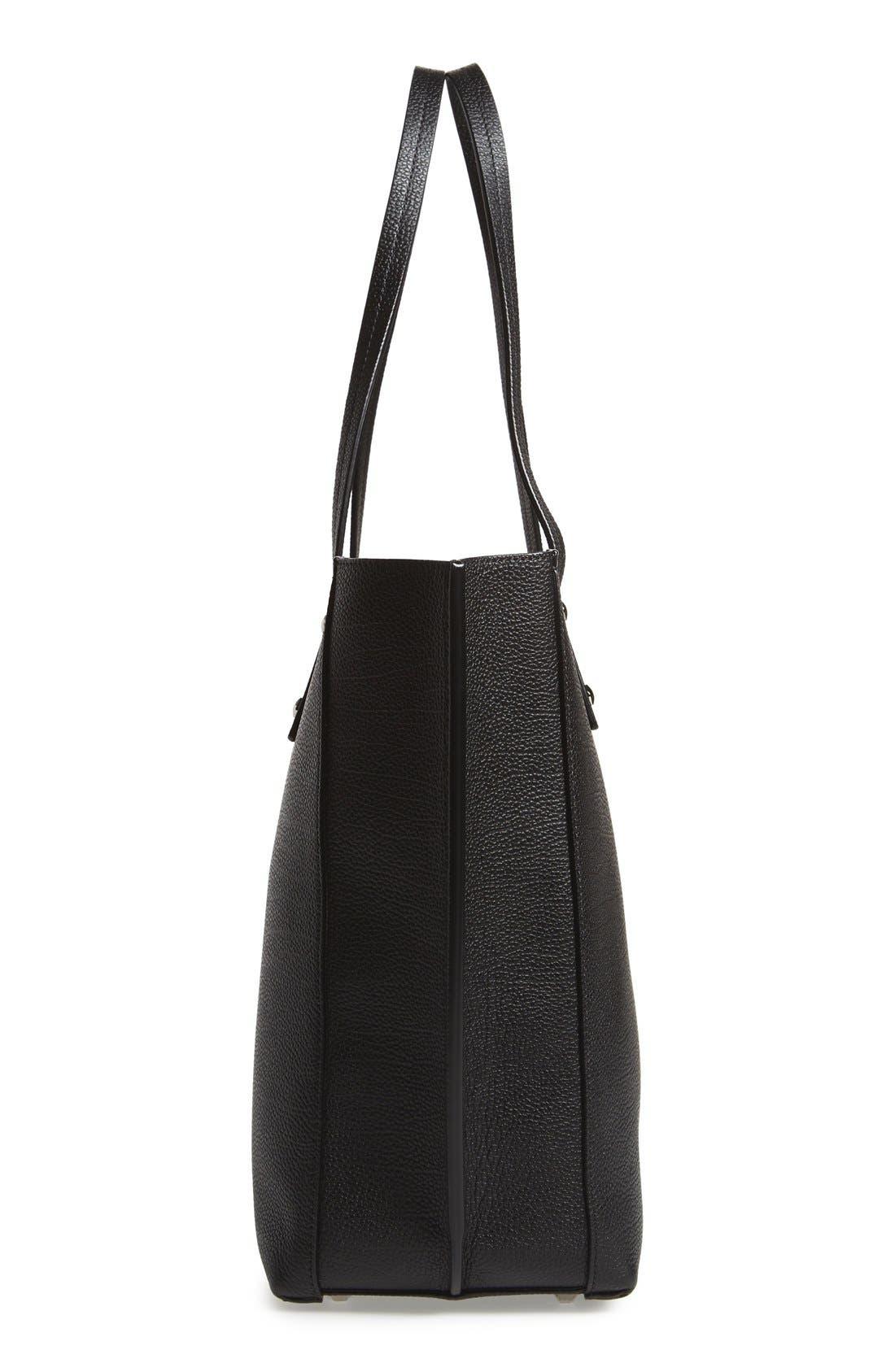 'Medium Sophie' Leather Shopper,                             Alternate thumbnail 5, color,                             Black
