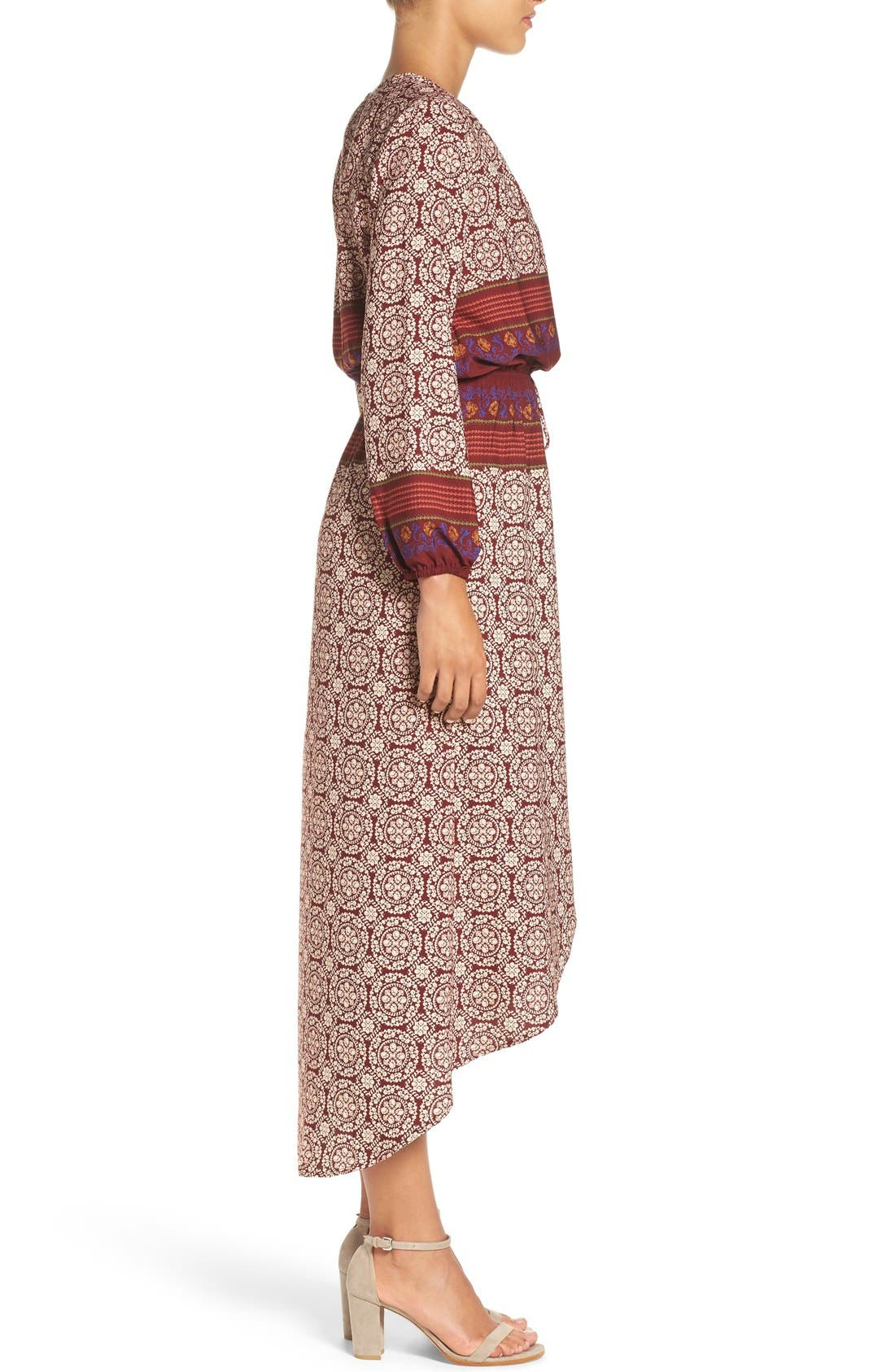 Alternate Image 3  - Fraiche by J 'Nora' Print High/Low Maxi Dress