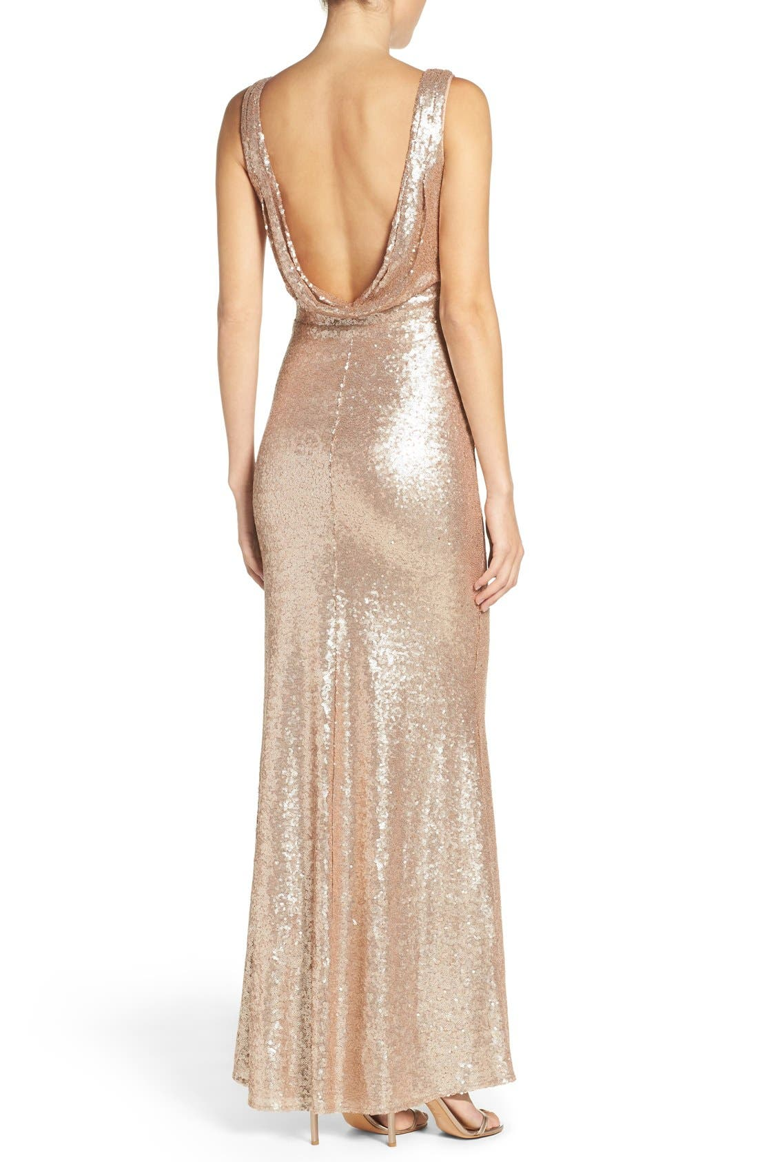 Alternate Image 3  - Lulus Sleeveless Sequin Drape Back Gown