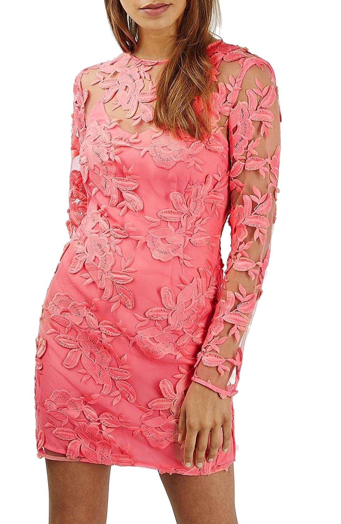 Alternate Image 3  - Topshop Lace Appliqué Long Sleeve Minidress
