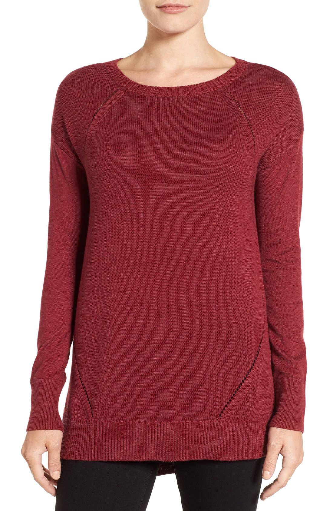Button Back Tunic Sweater,                         Main,                         color, Red Cordovan