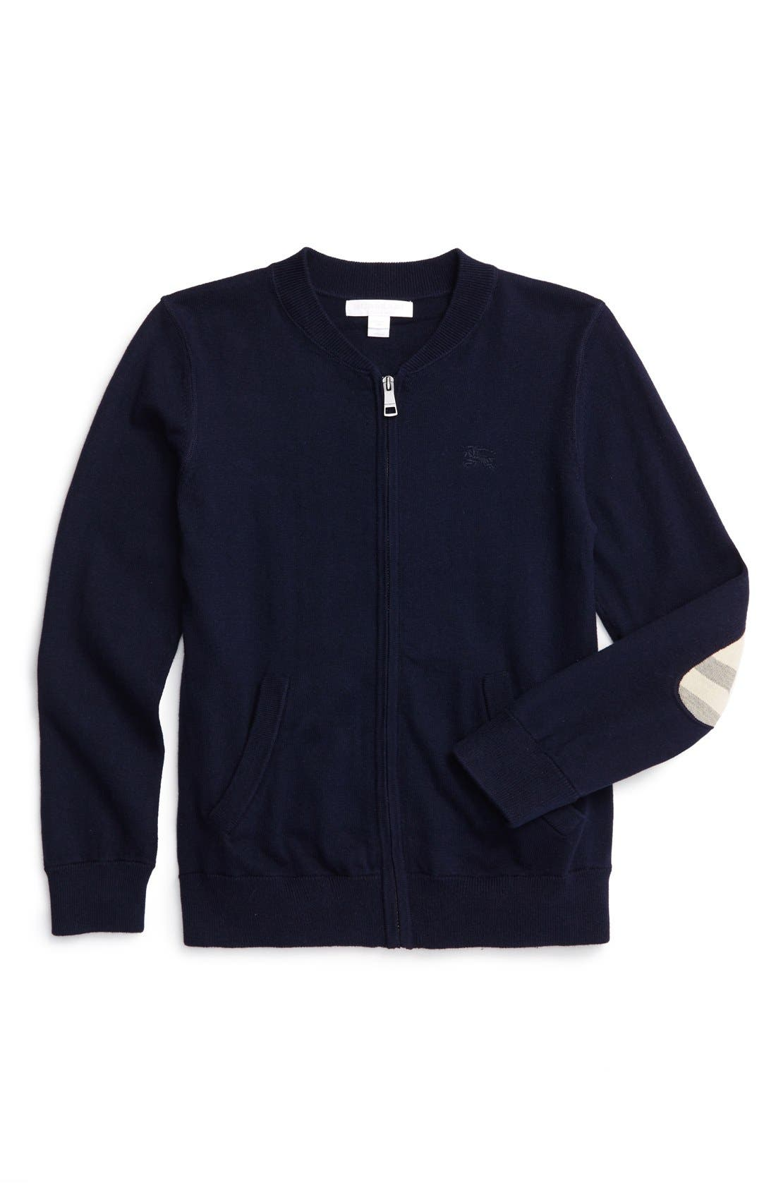 Alternate Image 1 Selected - Burberry 'Jaxson' Front Zip Cotton Cardigan (Little Boys & Big Boys)