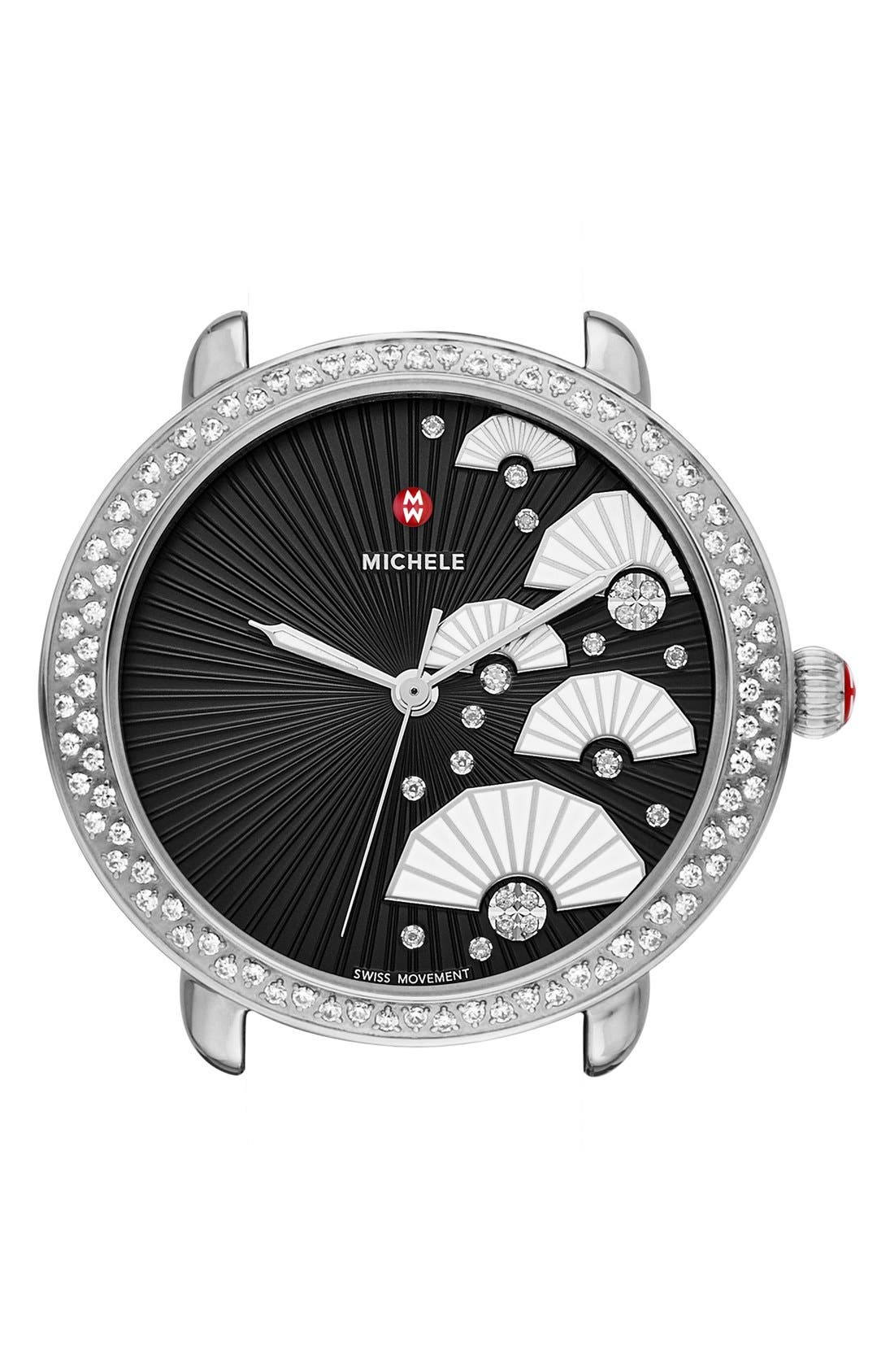 Serein 16 Diamond Diamond Fan Dial Watch Case, 36mm x 34mm,                             Main thumbnail 1, color,                             Silver/ Black