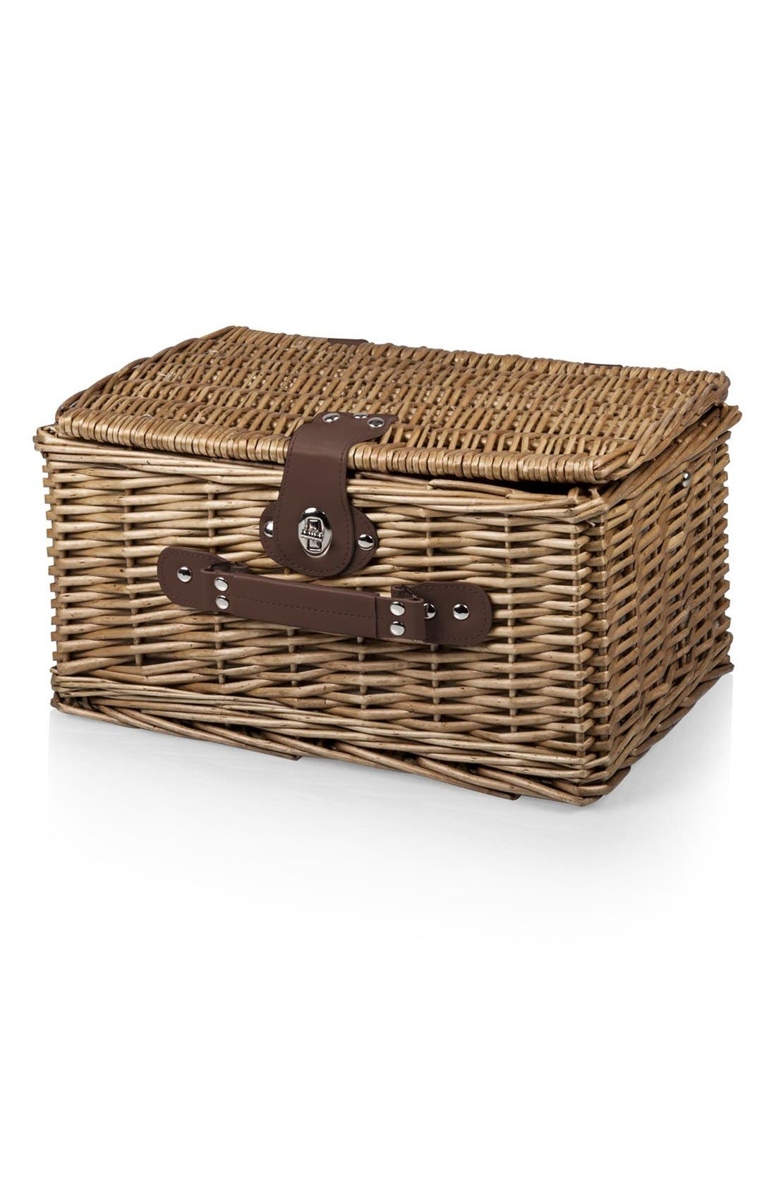 'Catalina' Wicker Picnic Basket,                             Alternate thumbnail 2, color,                             Blue