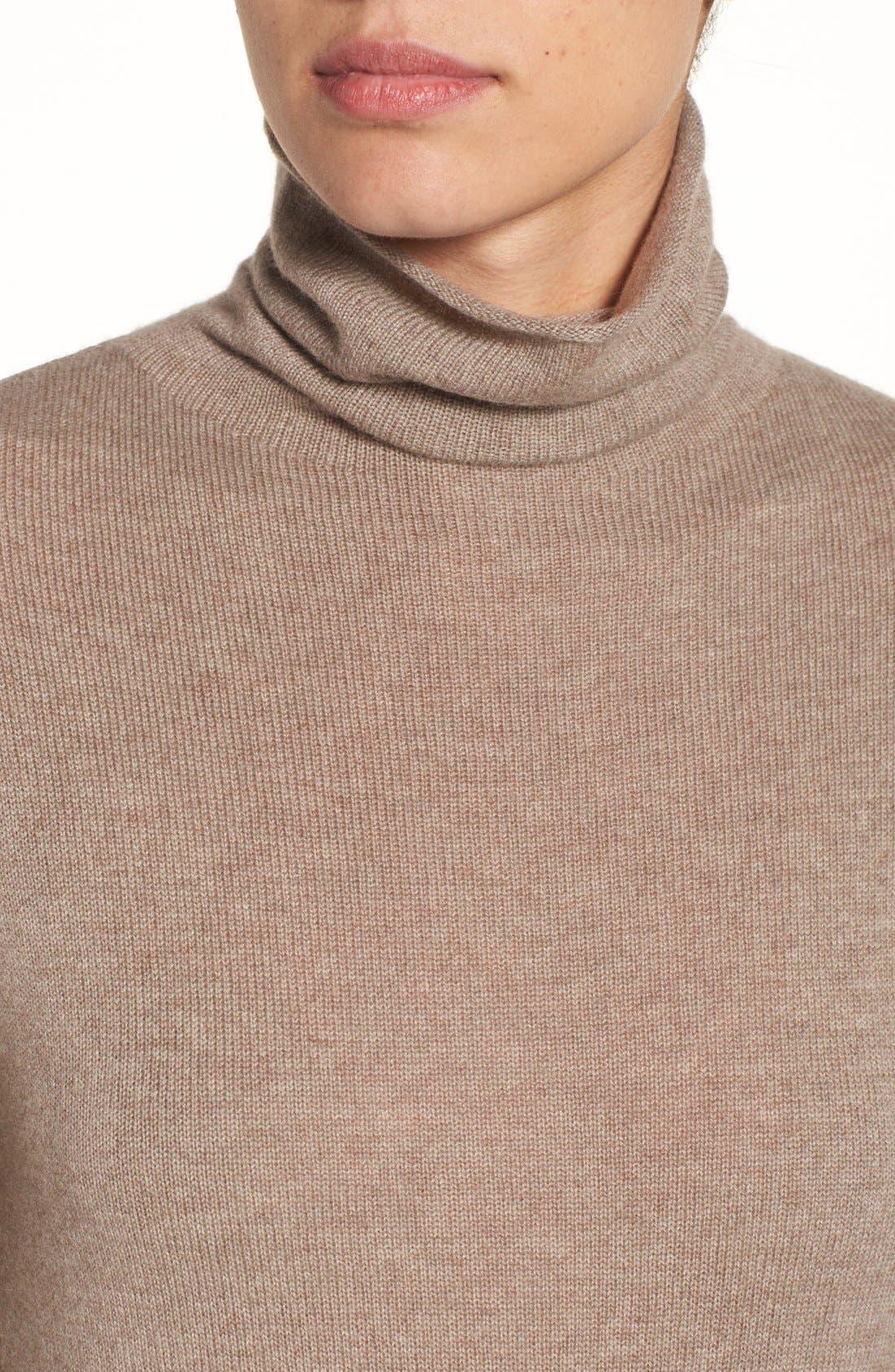 Alternate Image 4  - Halogen® Wool & Cashmere Funnel Neck Sweater (Regular & Petite)