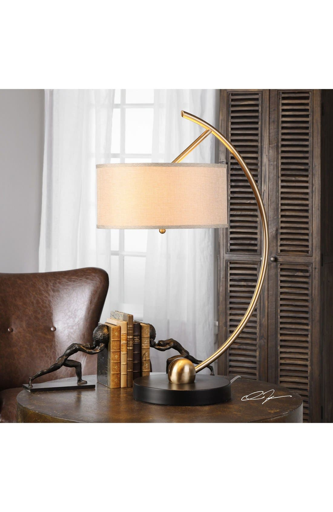 Curved Brass Table Lamp,                             Alternate thumbnail 2, color,                             Brass