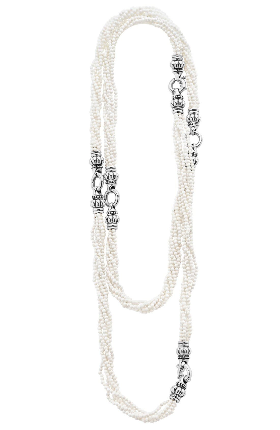 LAGOS Black & White Caviar Agate Multistrand Necklace