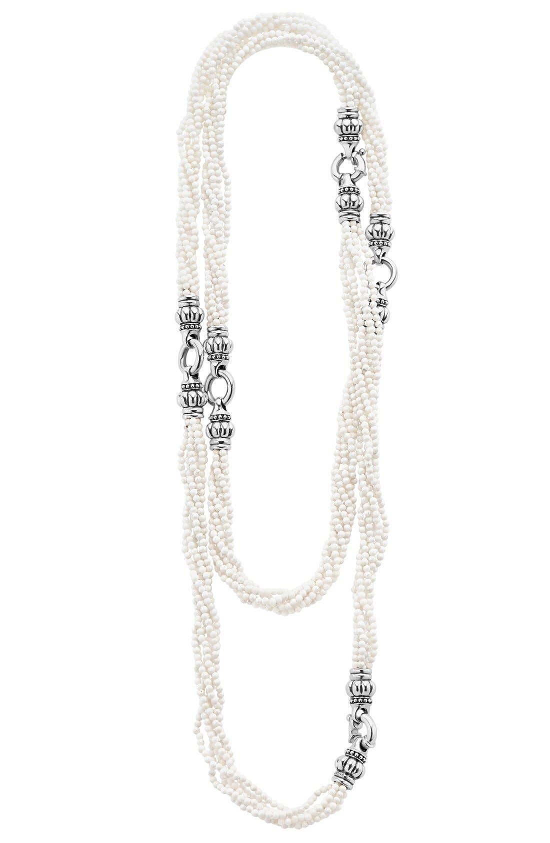 LAGOS 'Black & White Caviar' Agate Multistrand Necklace