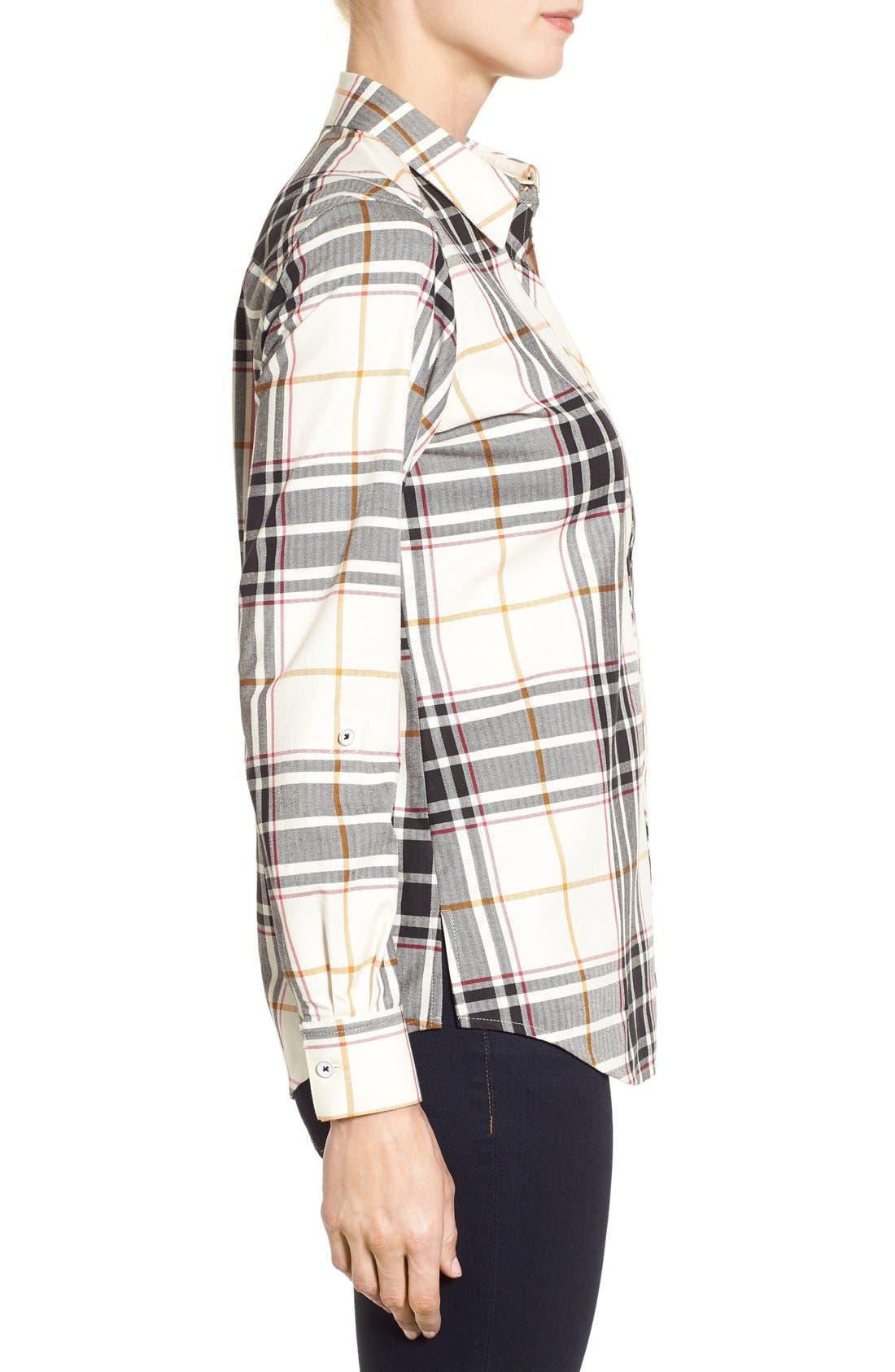 Alternate Image 3  - Foxcroft Herringbone Plaid Roll Sleeve Shirt (Regular & Petite)
