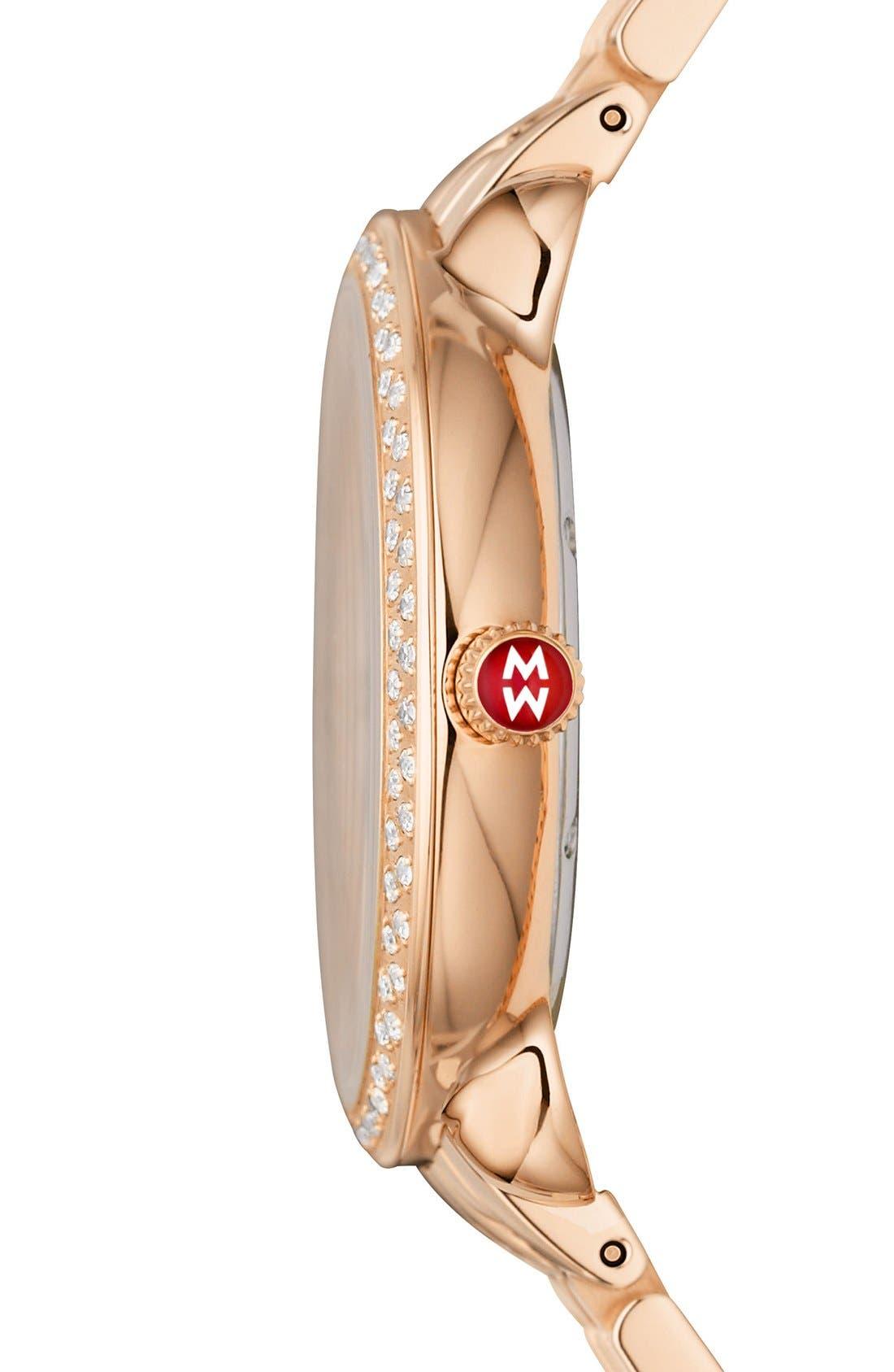 Serein Mid City Lights Diamond Diamond Dial Watch Case, 36mm,                             Alternate thumbnail 3, color,                             Rose Gold/ Cocoa
