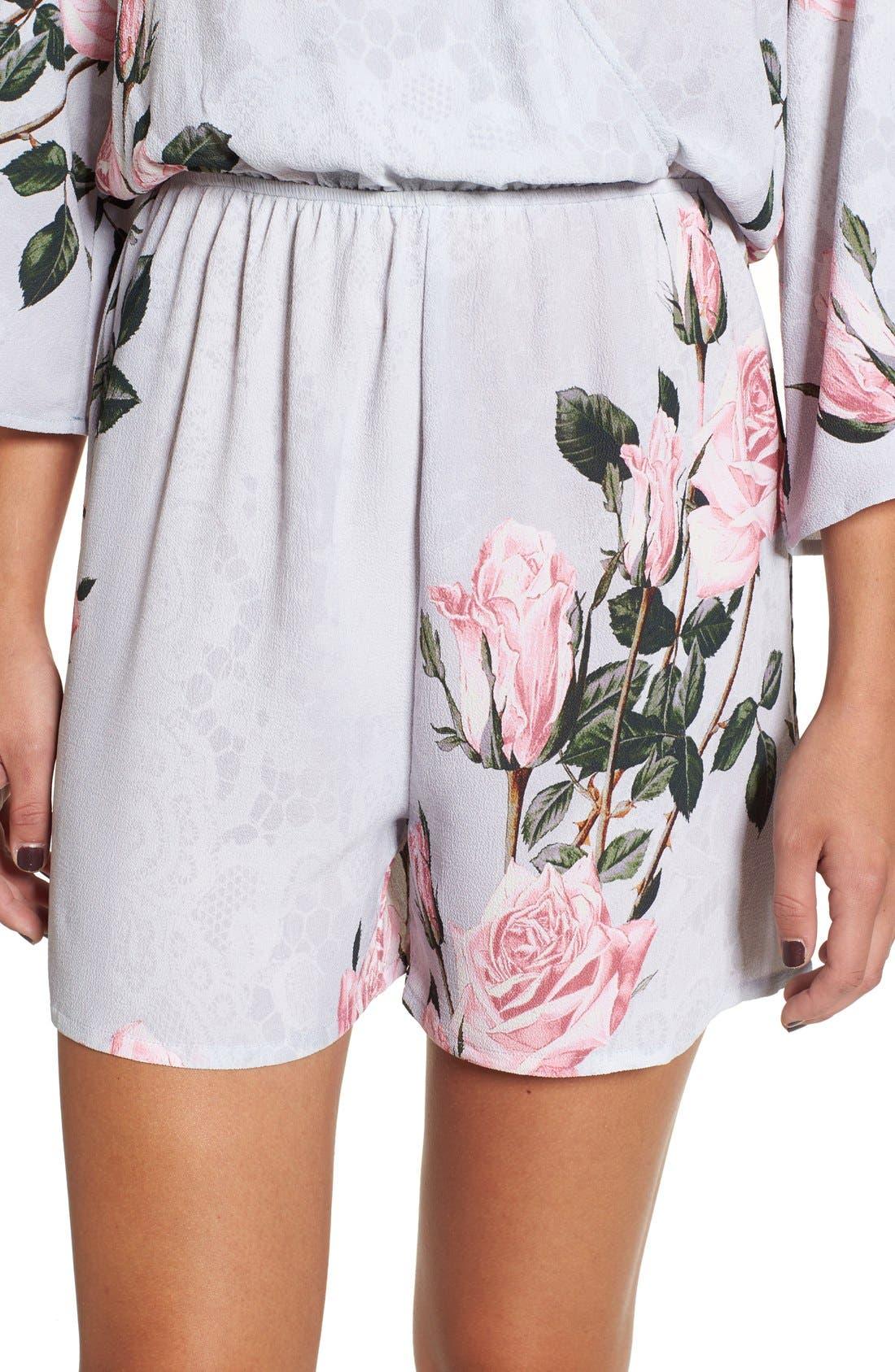 Alternate Image 5  - Glamorous Floral Print Lace Kimono Romper