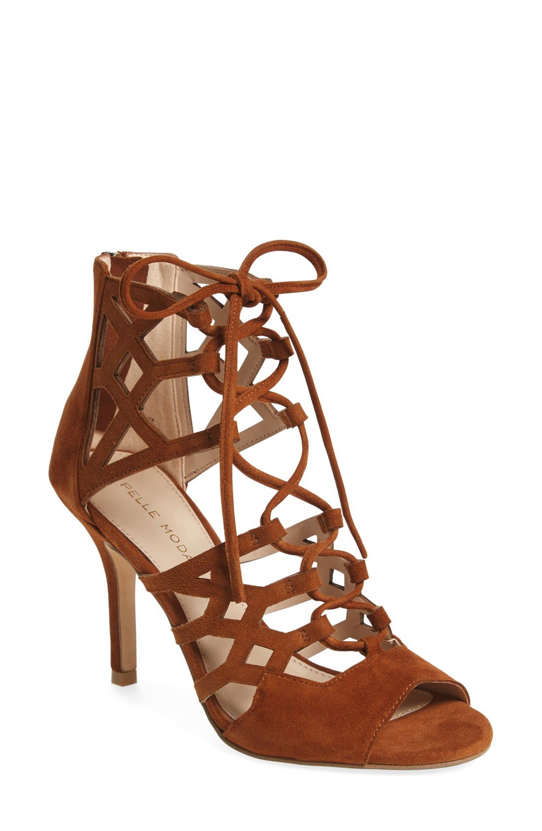 'Eva' Ghillie Lace Sandal,                         Main,                         color, Cognac Leather