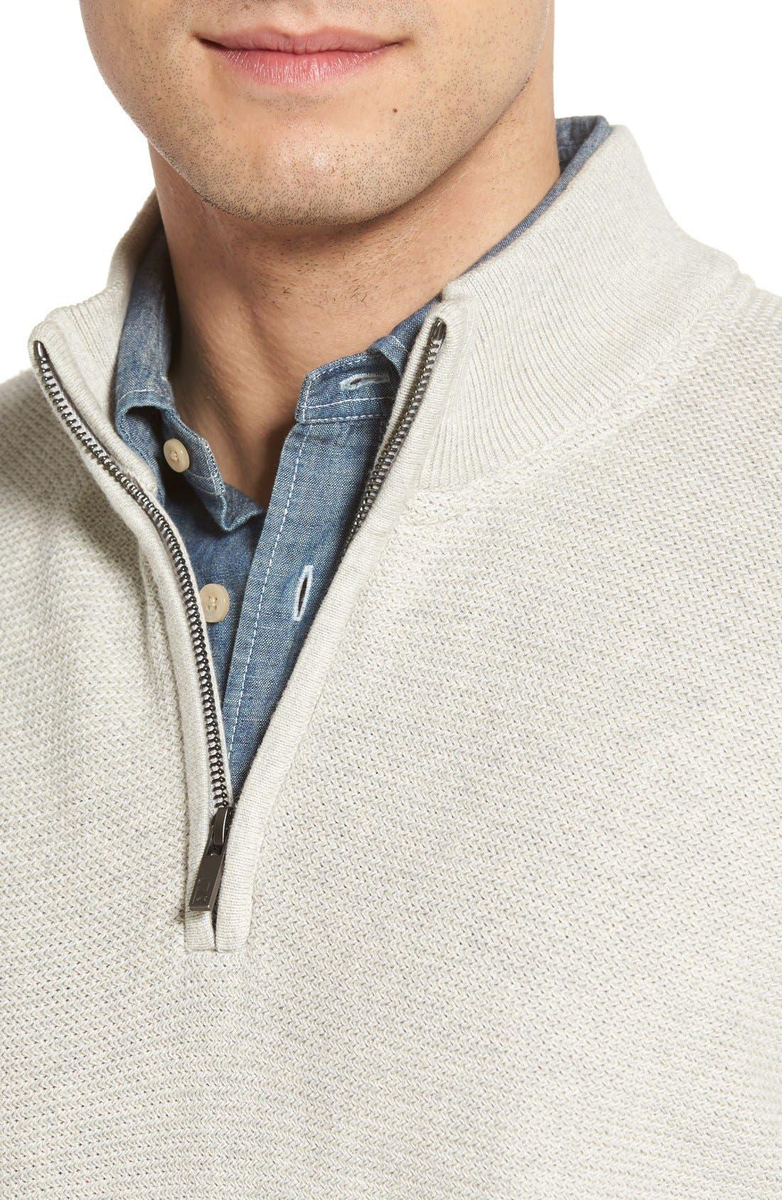 'Benson' Quarter Zip Textured Knit Sweater,                             Alternate thumbnail 4, color,                             Limestone Heather