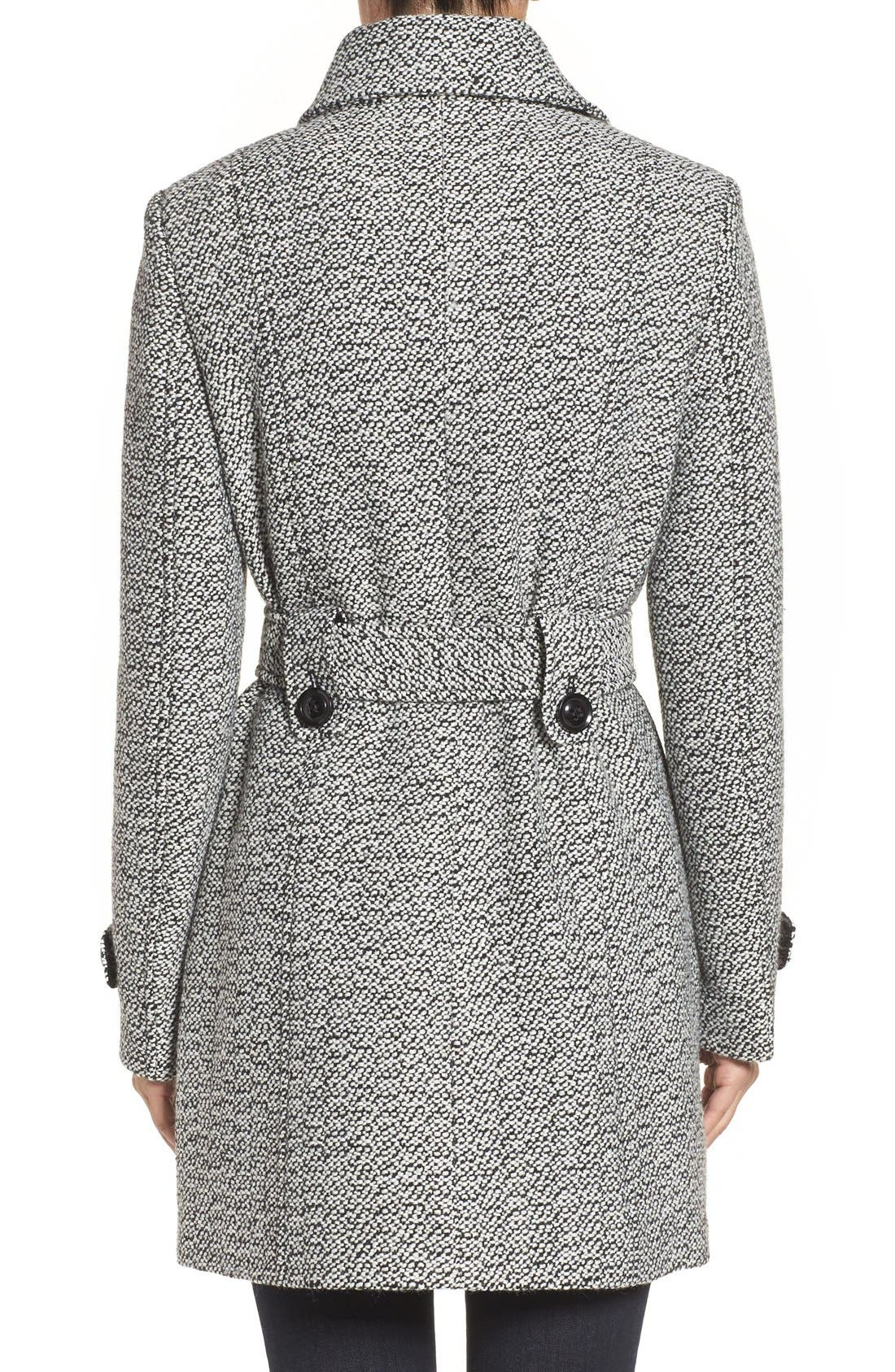 Belted Tweed Coat,                             Alternate thumbnail 2, color,                             Black/ White