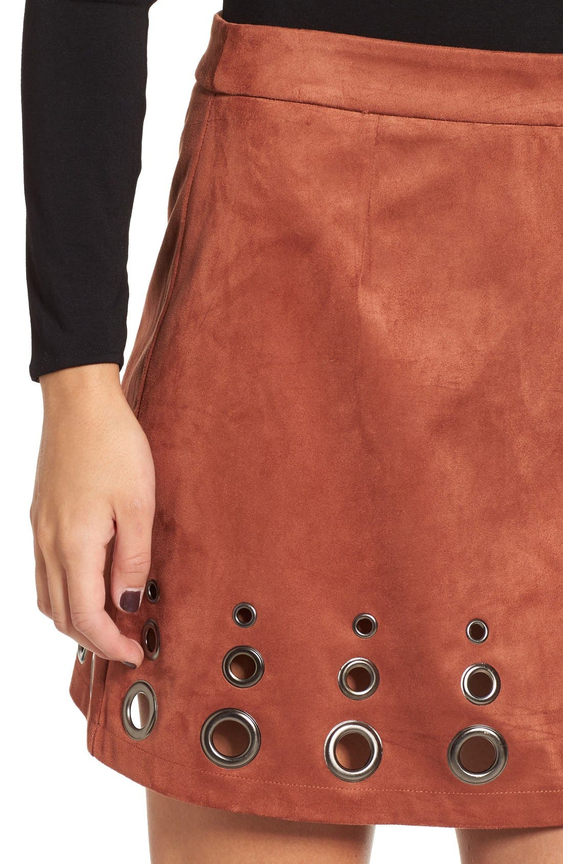 Alternate Image 5  - Glamorous Grommet Faux Suede A-Line Skirt