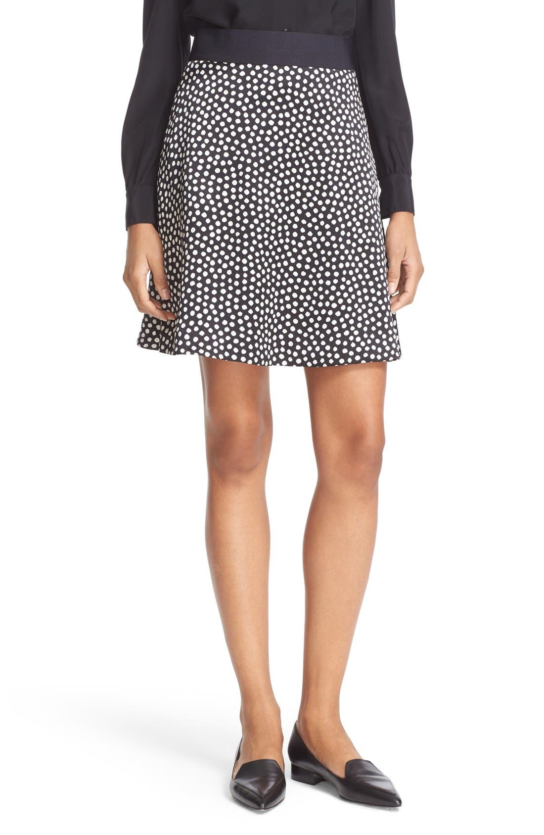 Main Image - kate spade new york spot print silk flippy skirt