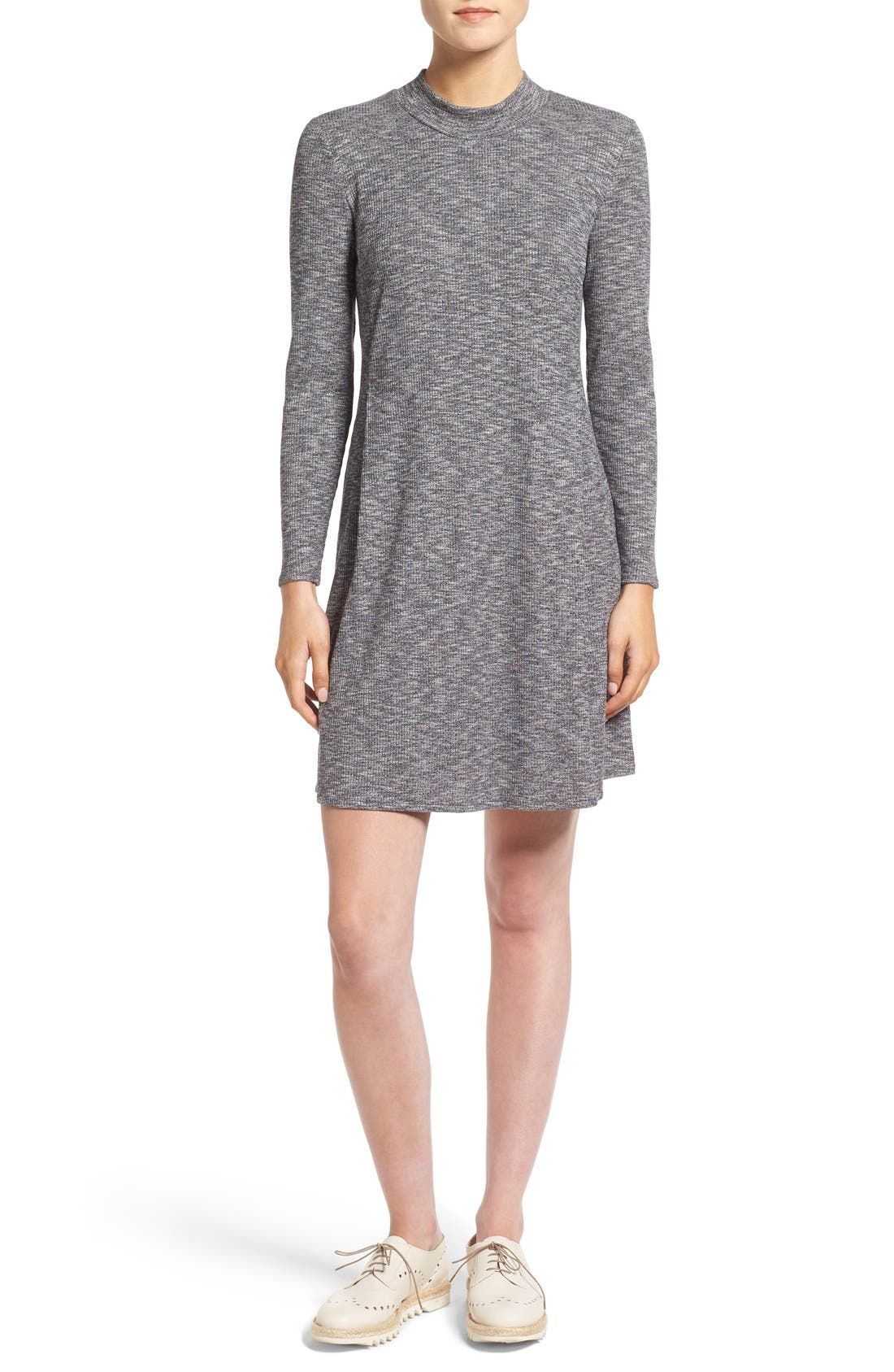 Mock Neck Marled Knit Dress,                             Main thumbnail 1, color,                             Heather Gravel