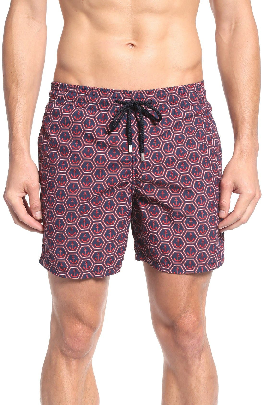 Anchor Print Swim Trunks,                         Main,                         color, Navy