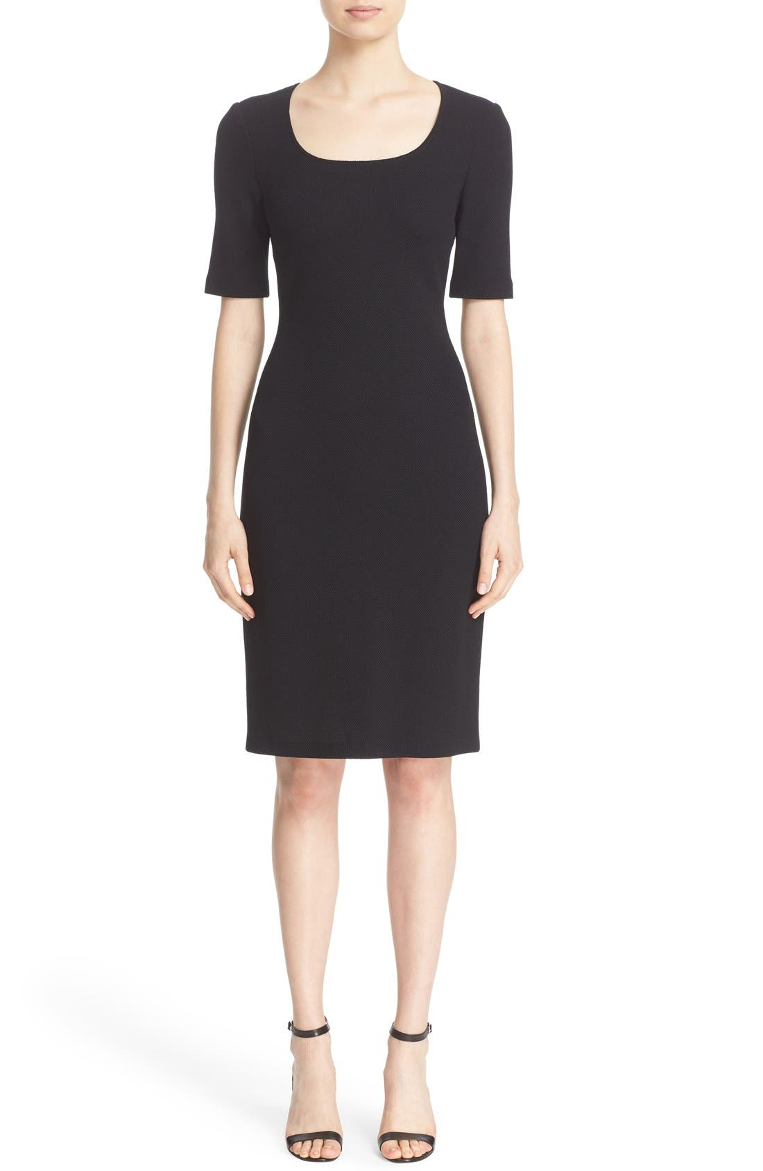Main Image - St. John Collection Milano Piqué Knit Scoop Neck Dress