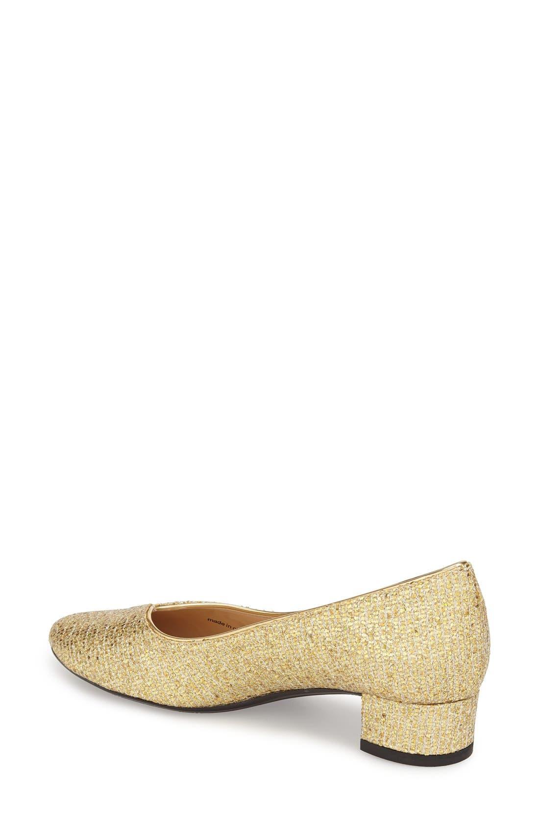 'Bambalina' Block Heel Glitter Pump,                             Alternate thumbnail 2, color,                             Gold Glitter Fabric