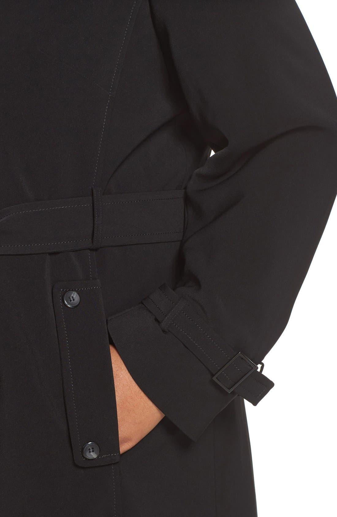 Long Nepage Raincoat with Detachable Hood & Liner,                             Alternate thumbnail 4, color,                             Black