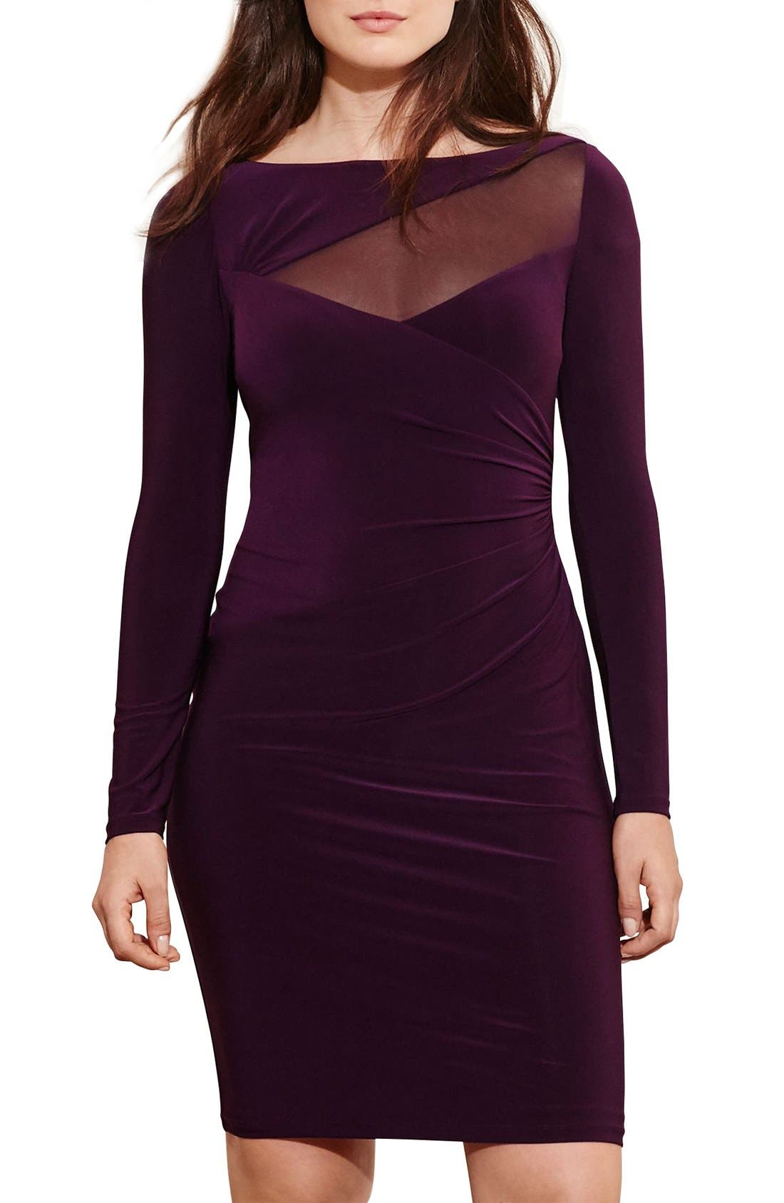 Main Image - Lauren Ralph Lauren Mesh Inset Side Pleat Jersey Dress (Plus Size)