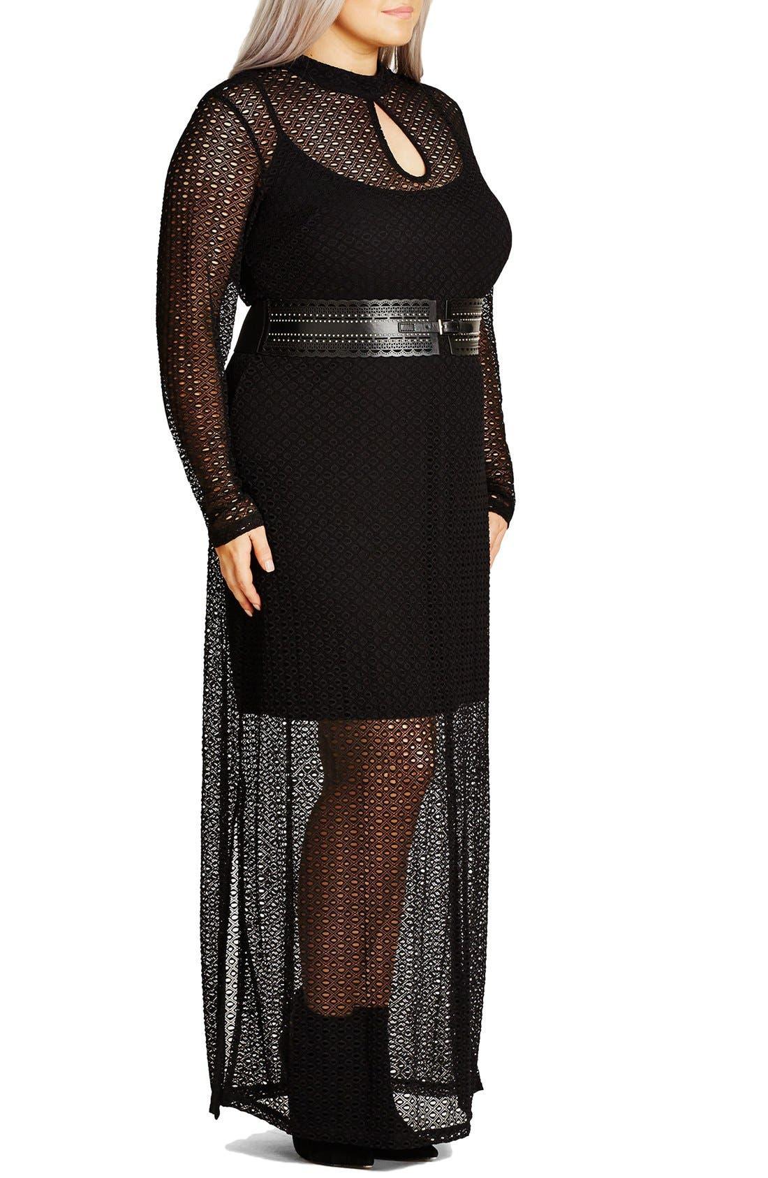 Alternate Image 3  - City Chic Geo Lace Maxi Dress (Plus Size)