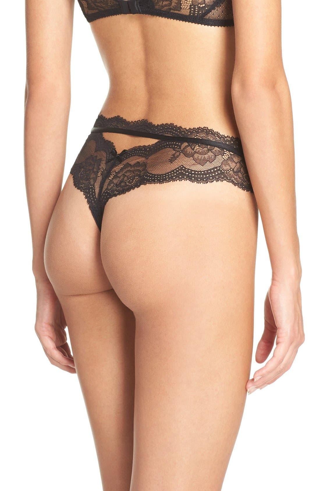 Presage Lace Tanga,                             Alternate thumbnail 2, color,                             Black