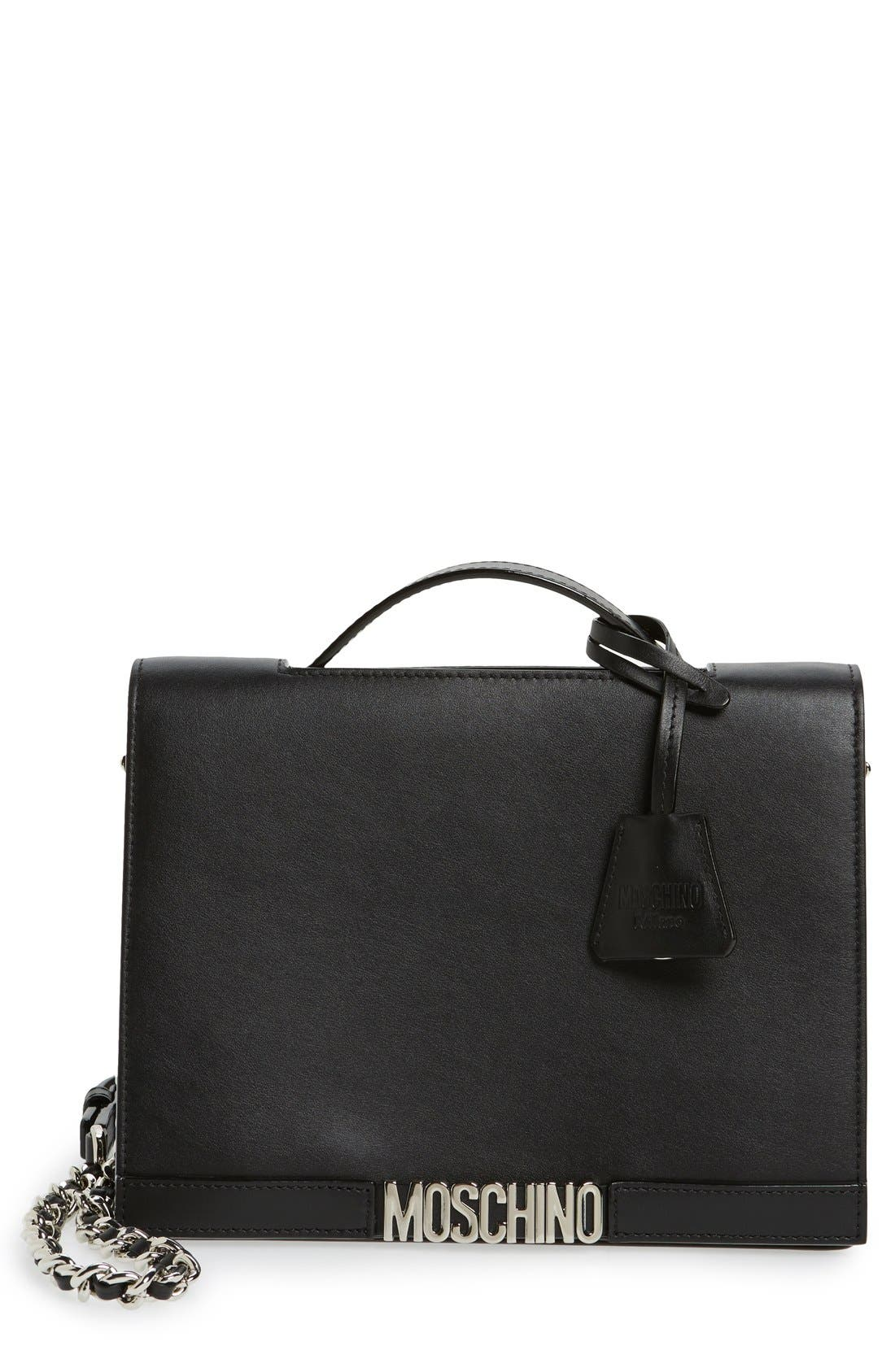 MOSCHINO Top Handle Leather Crossbody Bag