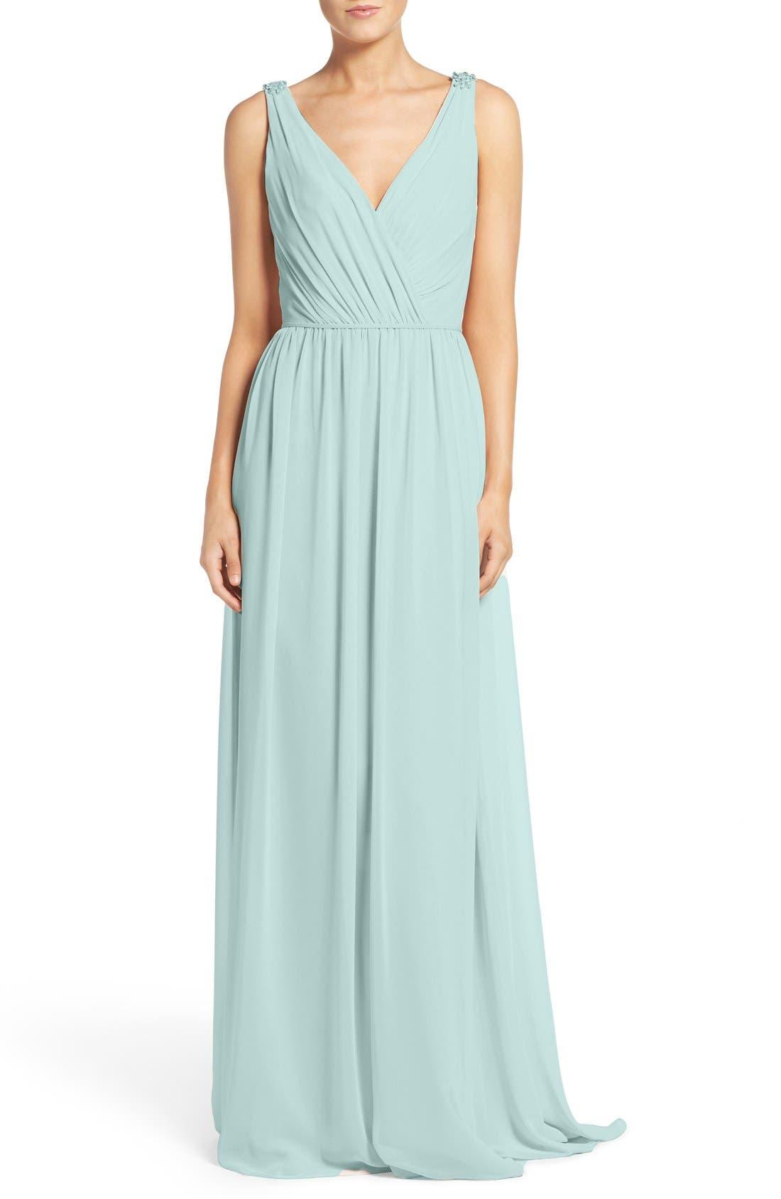 Alternate Image 1 Selected - Hayley Paige Occasions Embellished Shoulder V-Neck Chiffon Gown
